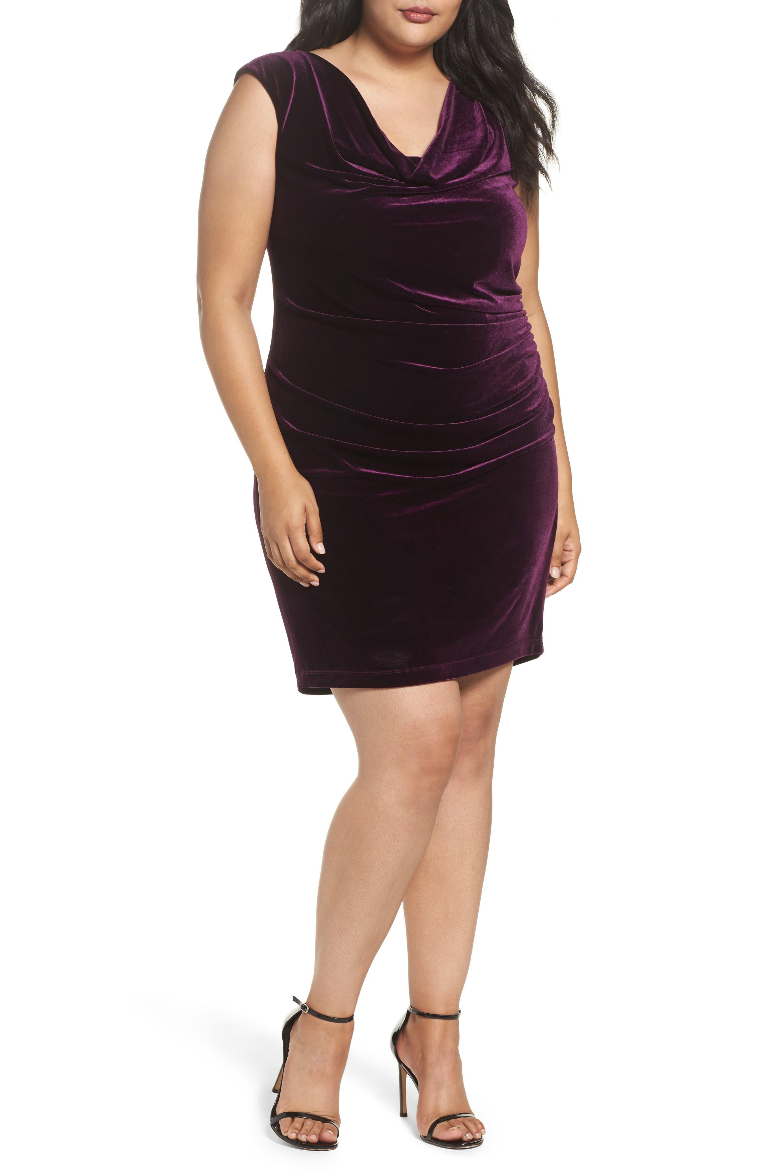 Velvet Body-Con Dress,                         Main,                         color, Aubergine
