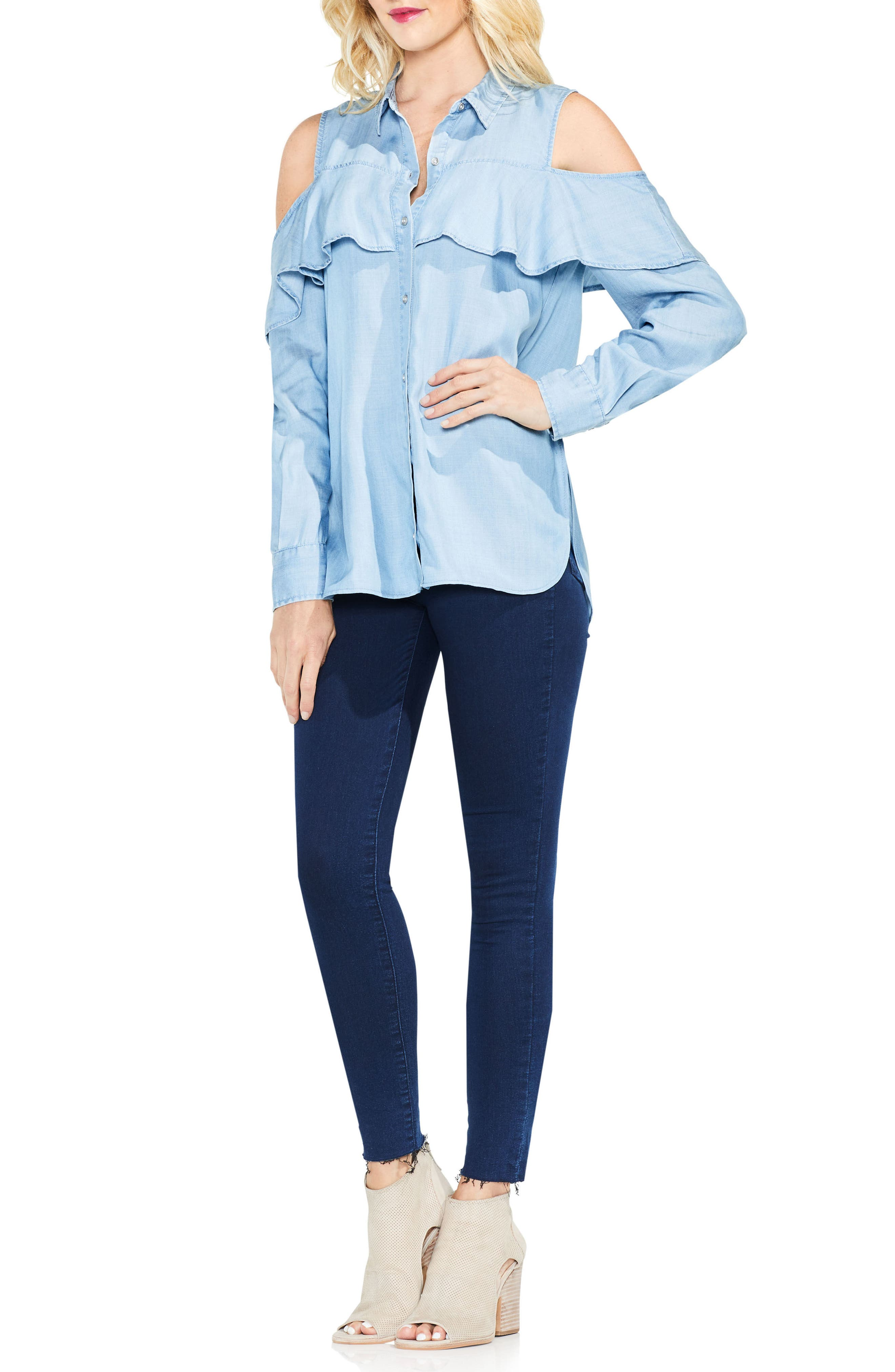 Alternate Image 2  - Two by Vince Camuto Cold Shoulder Ruffled Chambray Shirt