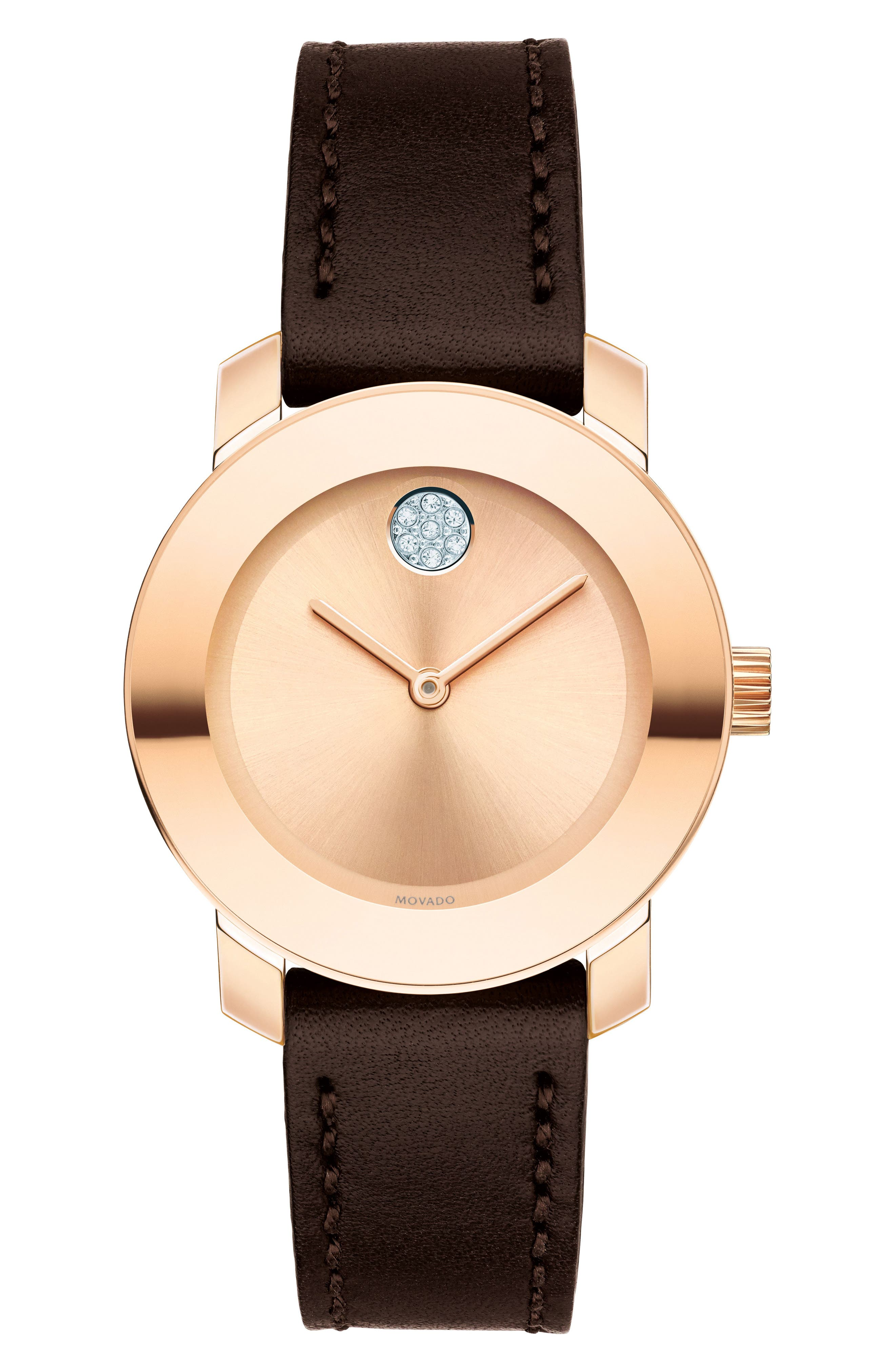 Movado Bold Crystal Accent Leather Strap Watch, 30mm