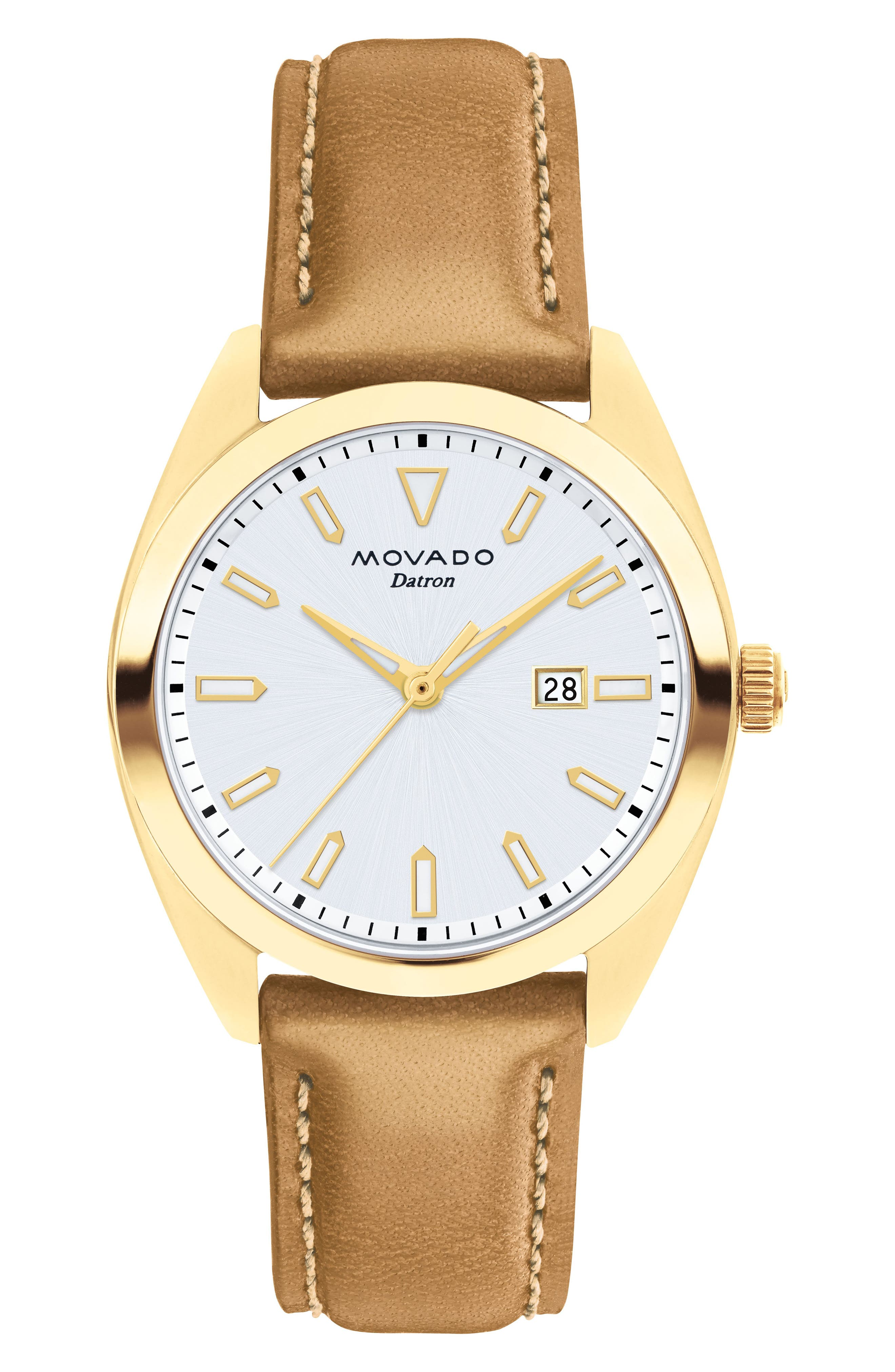 Heritage Datron Leather Strap Watch, 31mm,                             Main thumbnail 1, color,                             Cognac/ White/ Gold