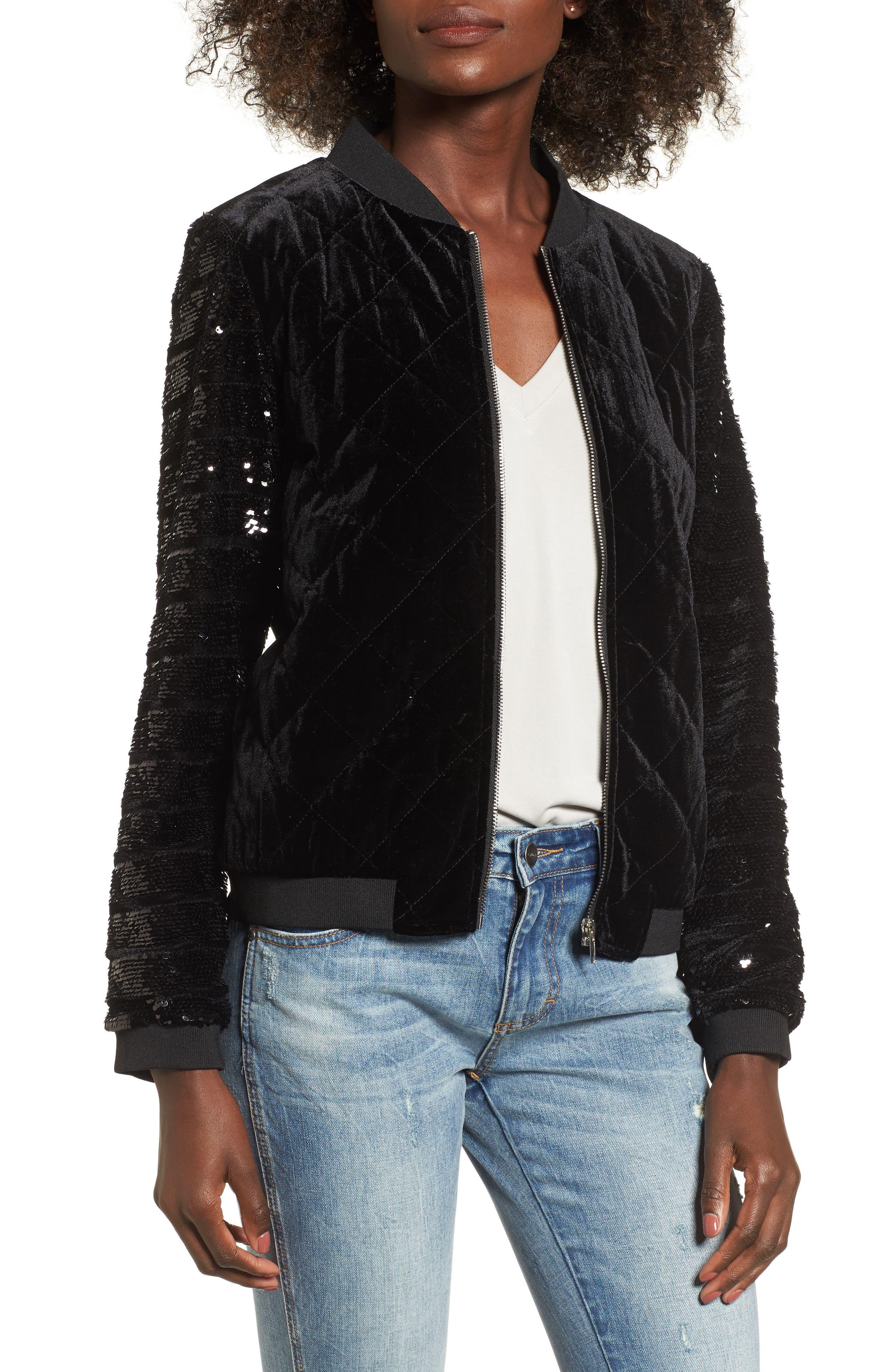 Quilted Sequin & Velvet Bomber,                         Main,                         color, Black