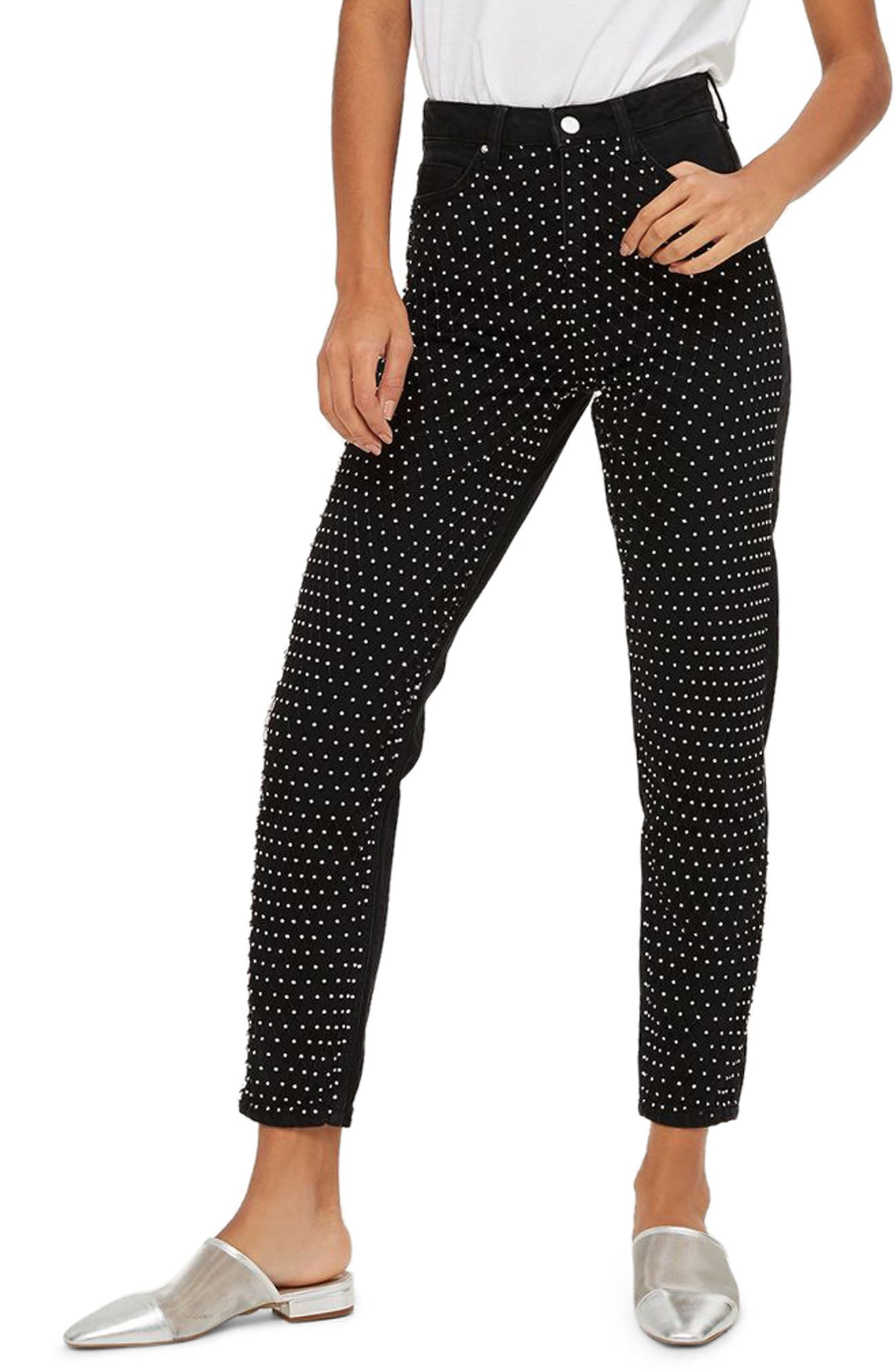 Limited Edition Diamante Fishnet Mom Jeans,                             Main thumbnail 1, color,                             Black