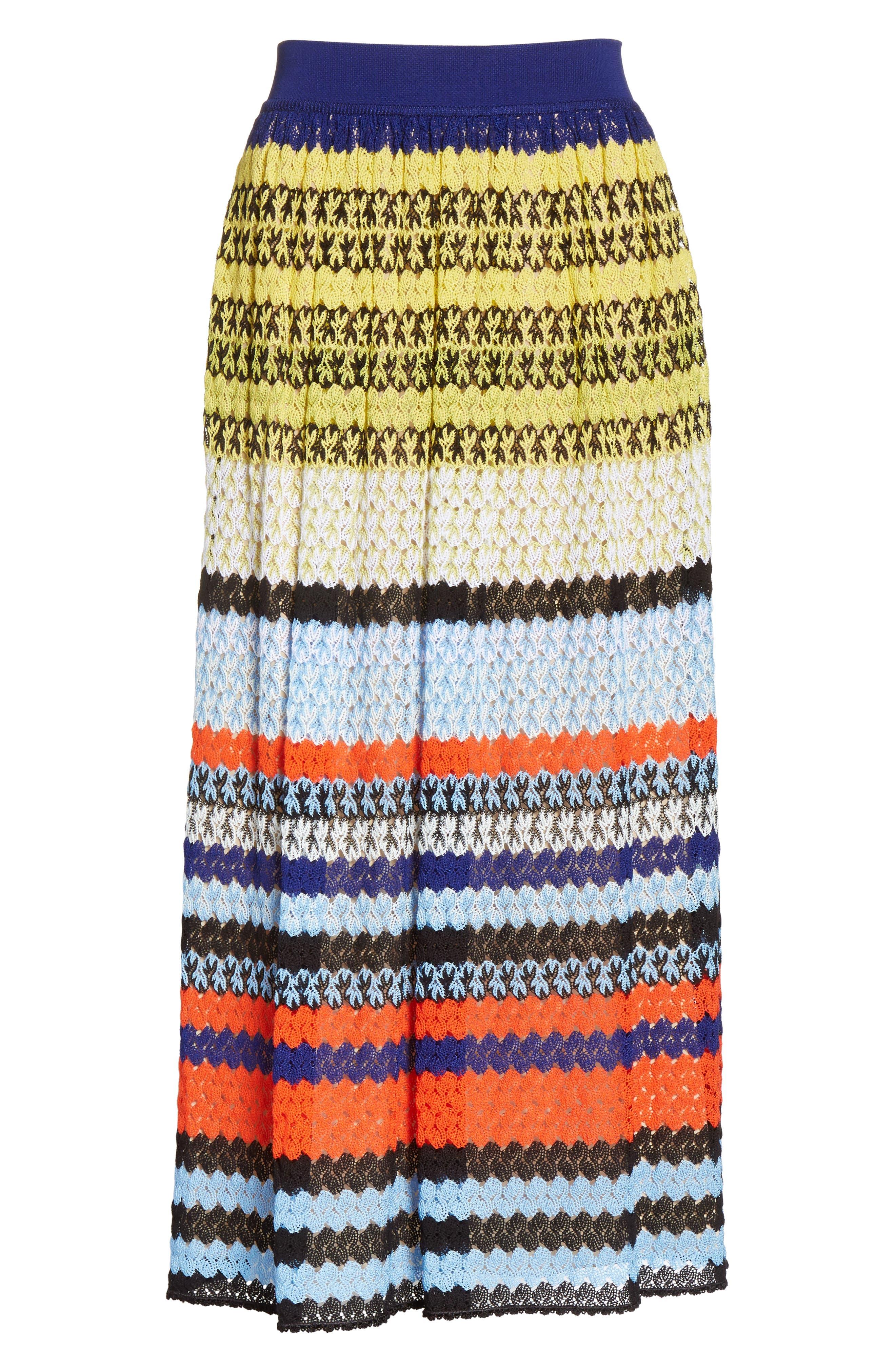 Stripe Knit Midi Skirt,                             Alternate thumbnail 6, color,                             Multi