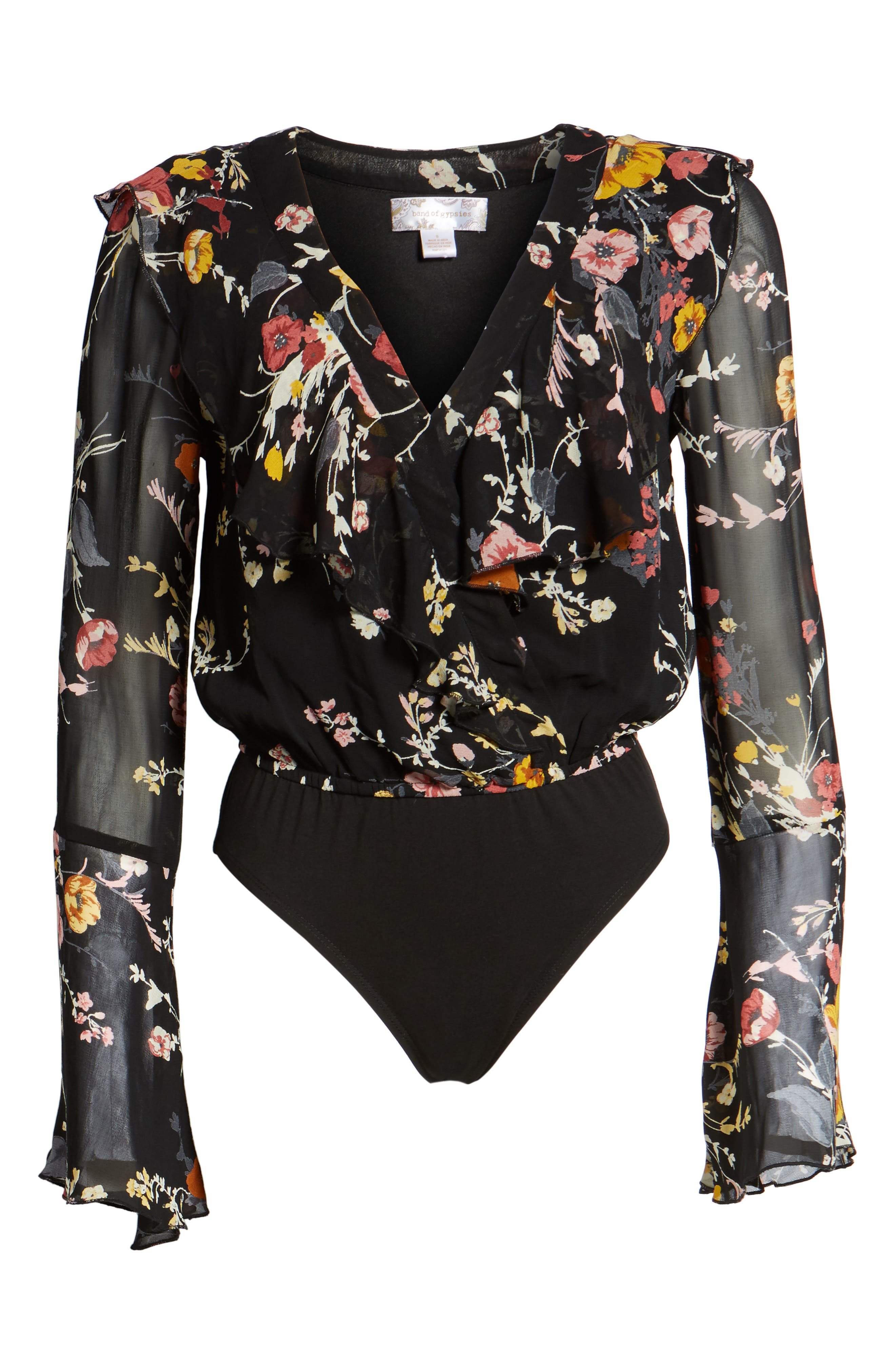 Floral Ruffle Bodysuit,                             Alternate thumbnail 6, color,                             Black/ Mustard