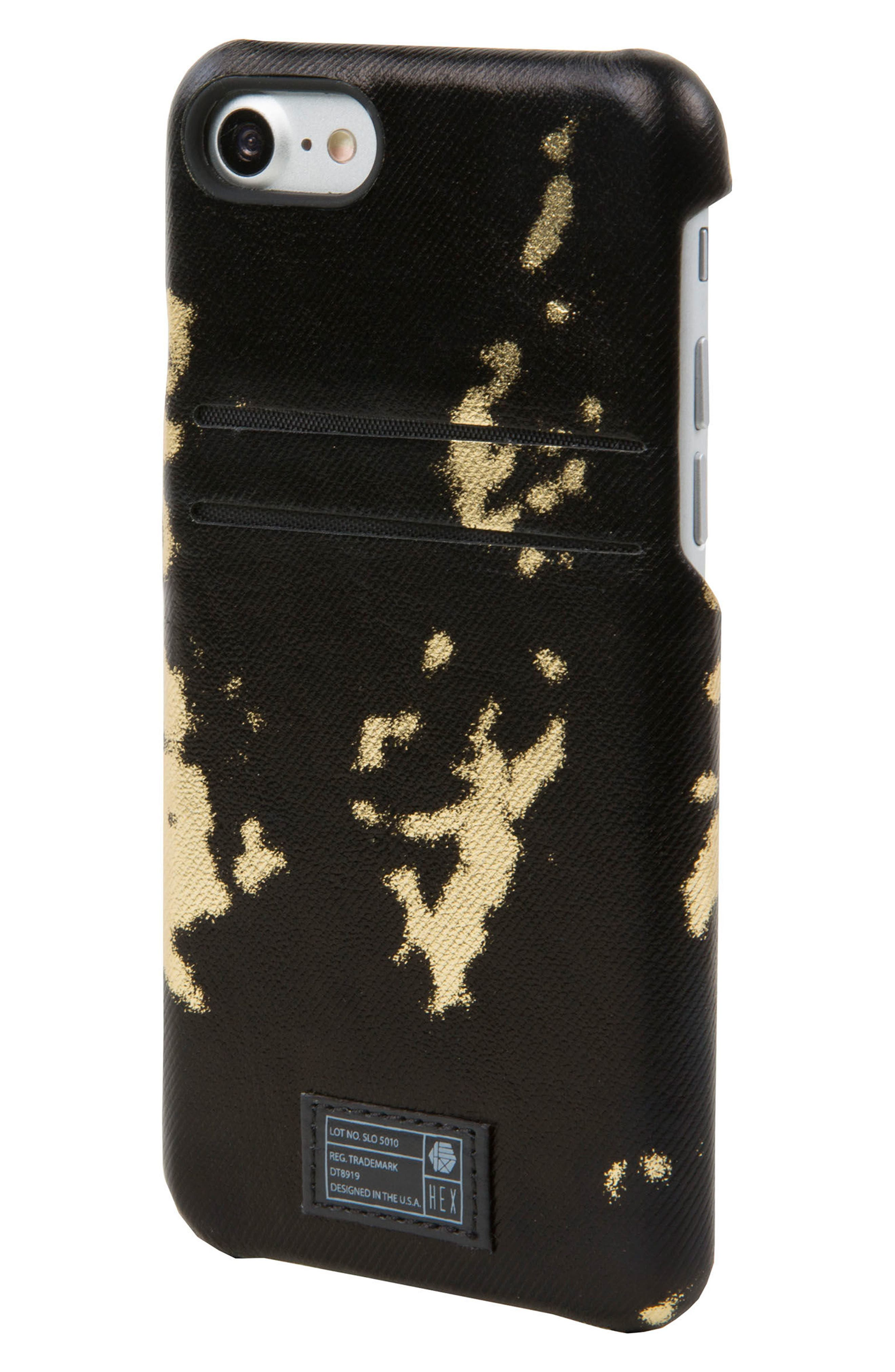 Solo iPhone 6/6s/7/8 Wallet Case,                             Main thumbnail 1, color,                             Black/ Gold