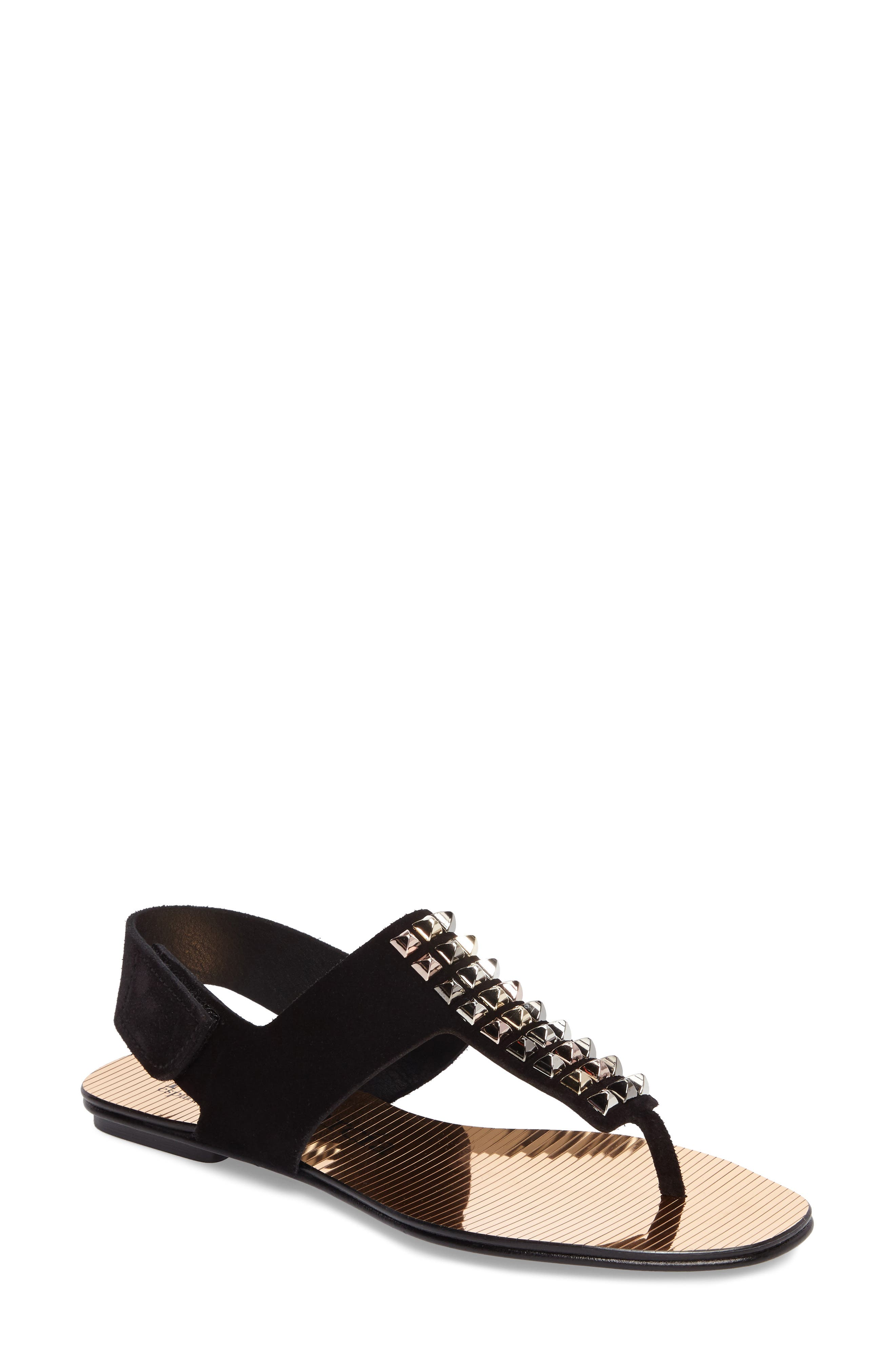 Enid Studded T-Strap Sandal,                         Main,                         color, Black Castoro/ Gold