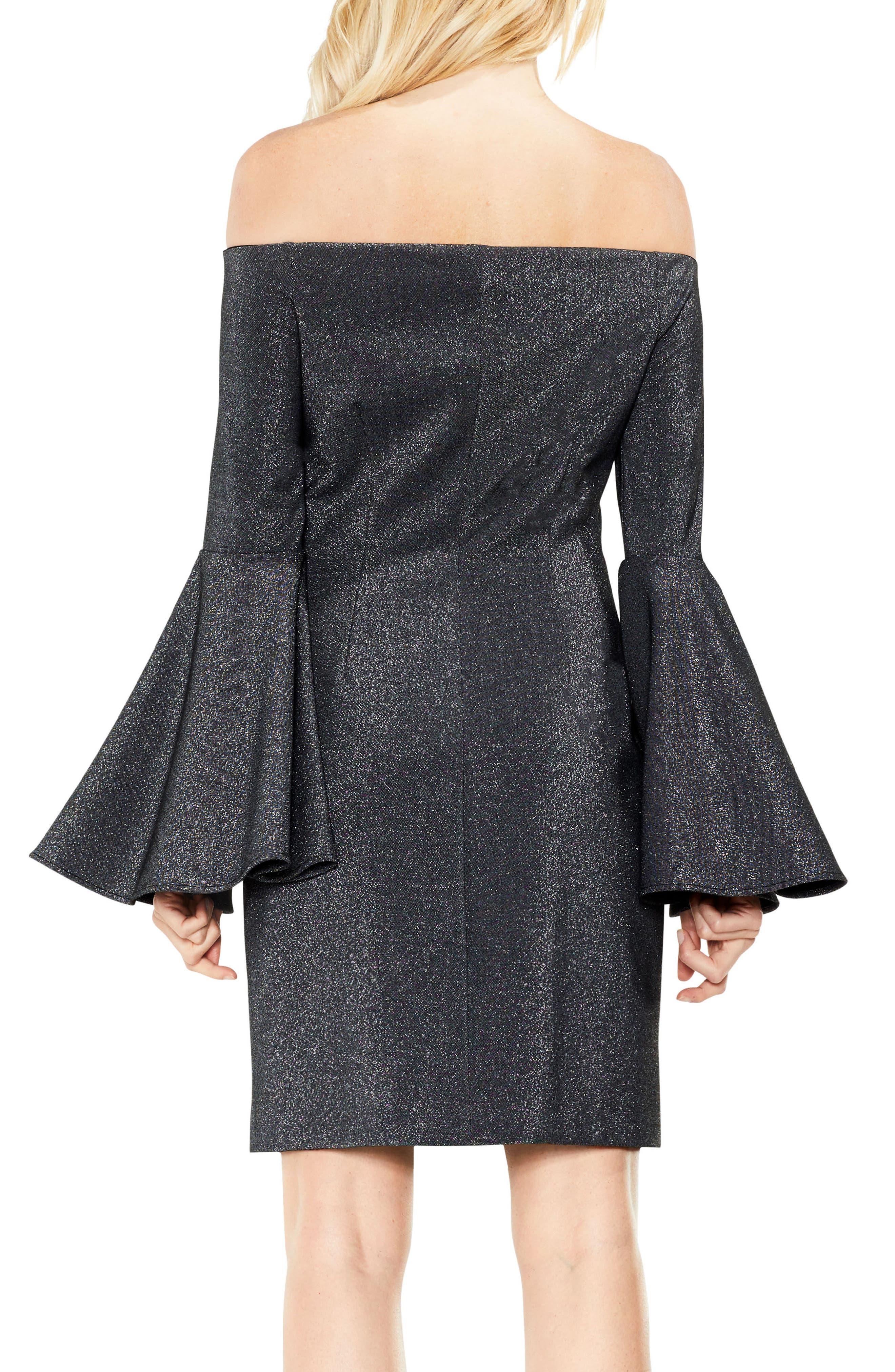 Off the Shoulder Metallic Knit Dress,                             Alternate thumbnail 3, color,                             Rich Black