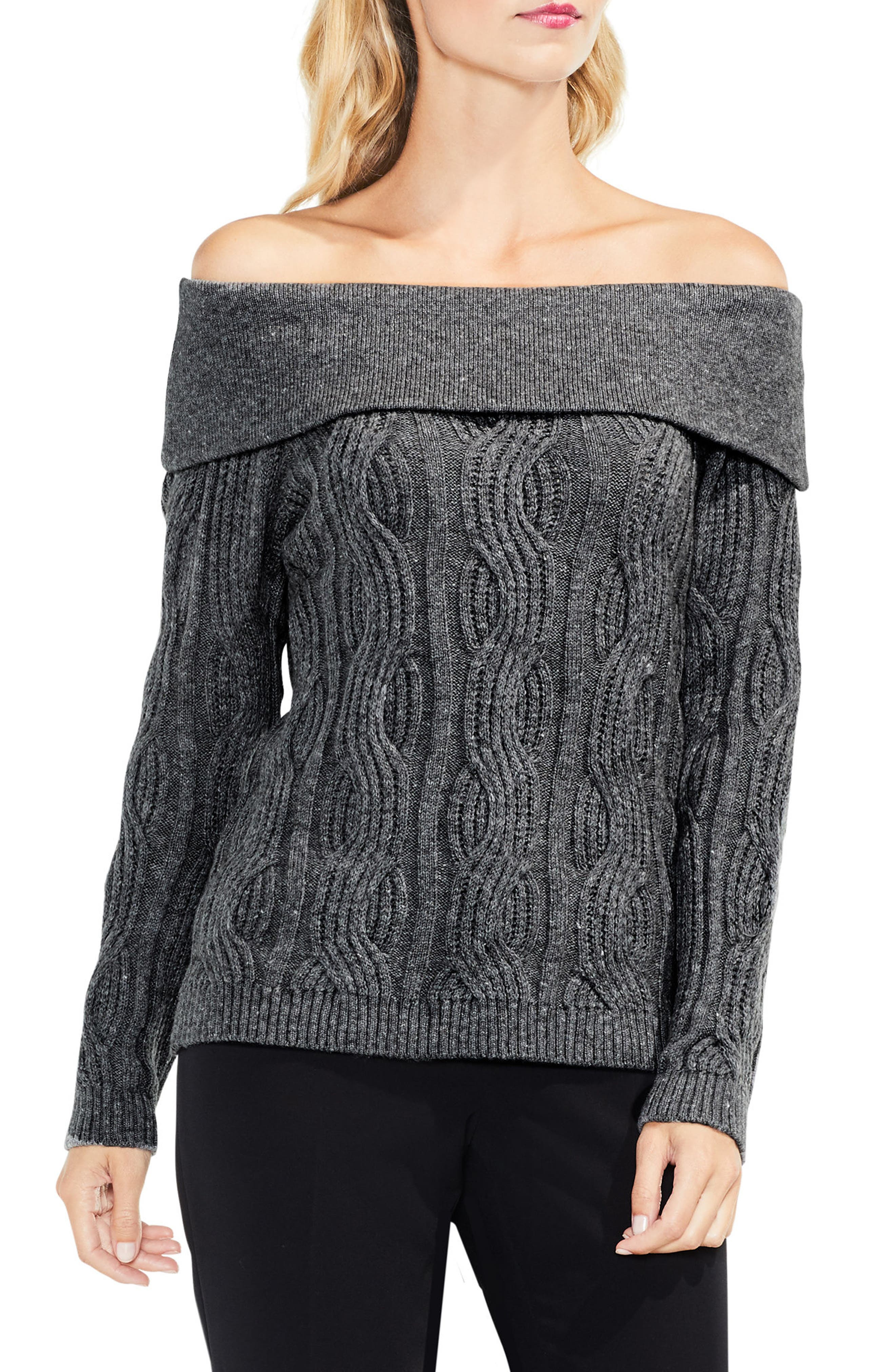 Off the Shoulder Cable Sweater,                             Main thumbnail 1, color,                             Medium Heather Grey