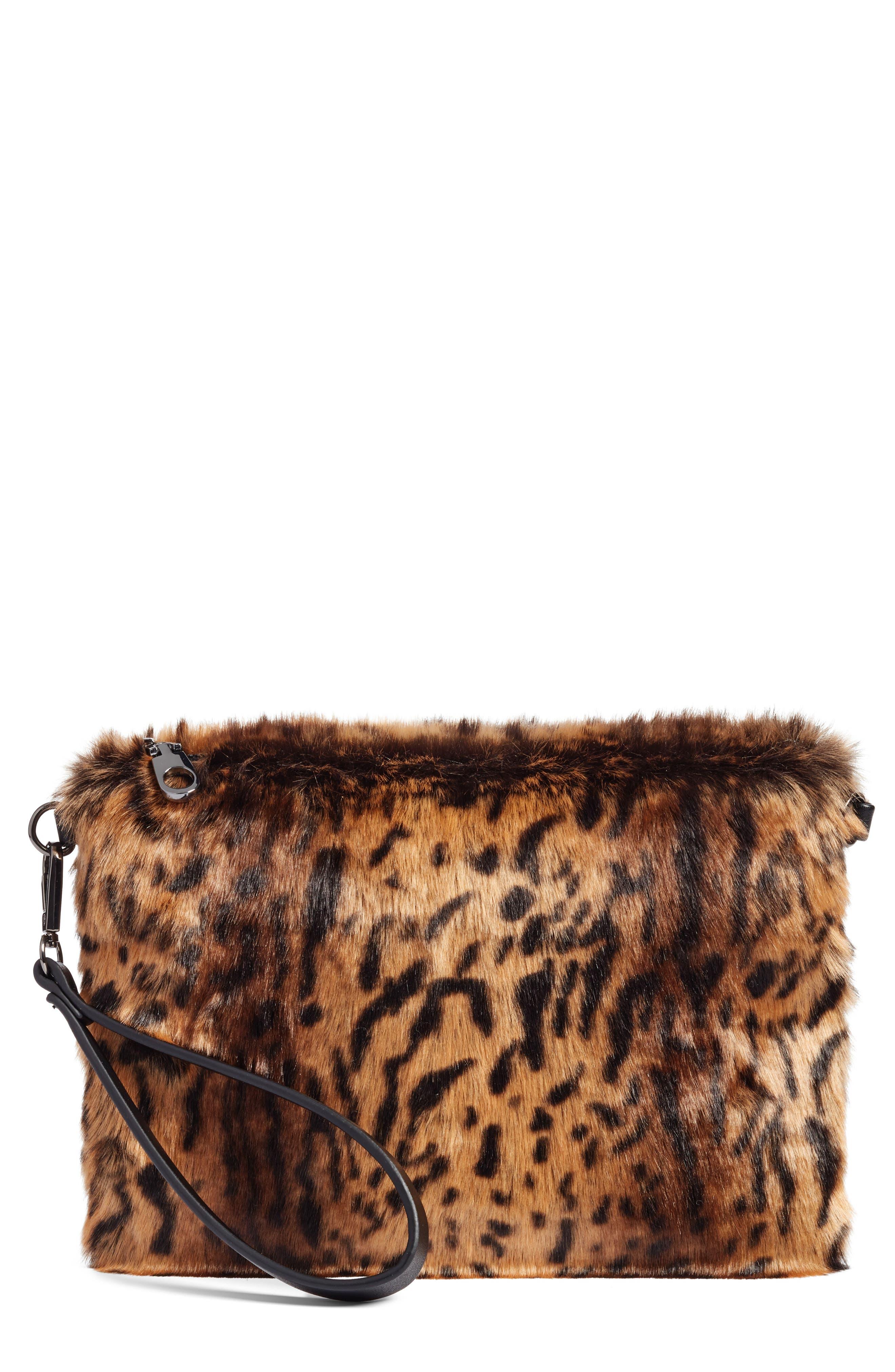 Chelsea28 Leopard Print Faux Fur Wristlet Clutch