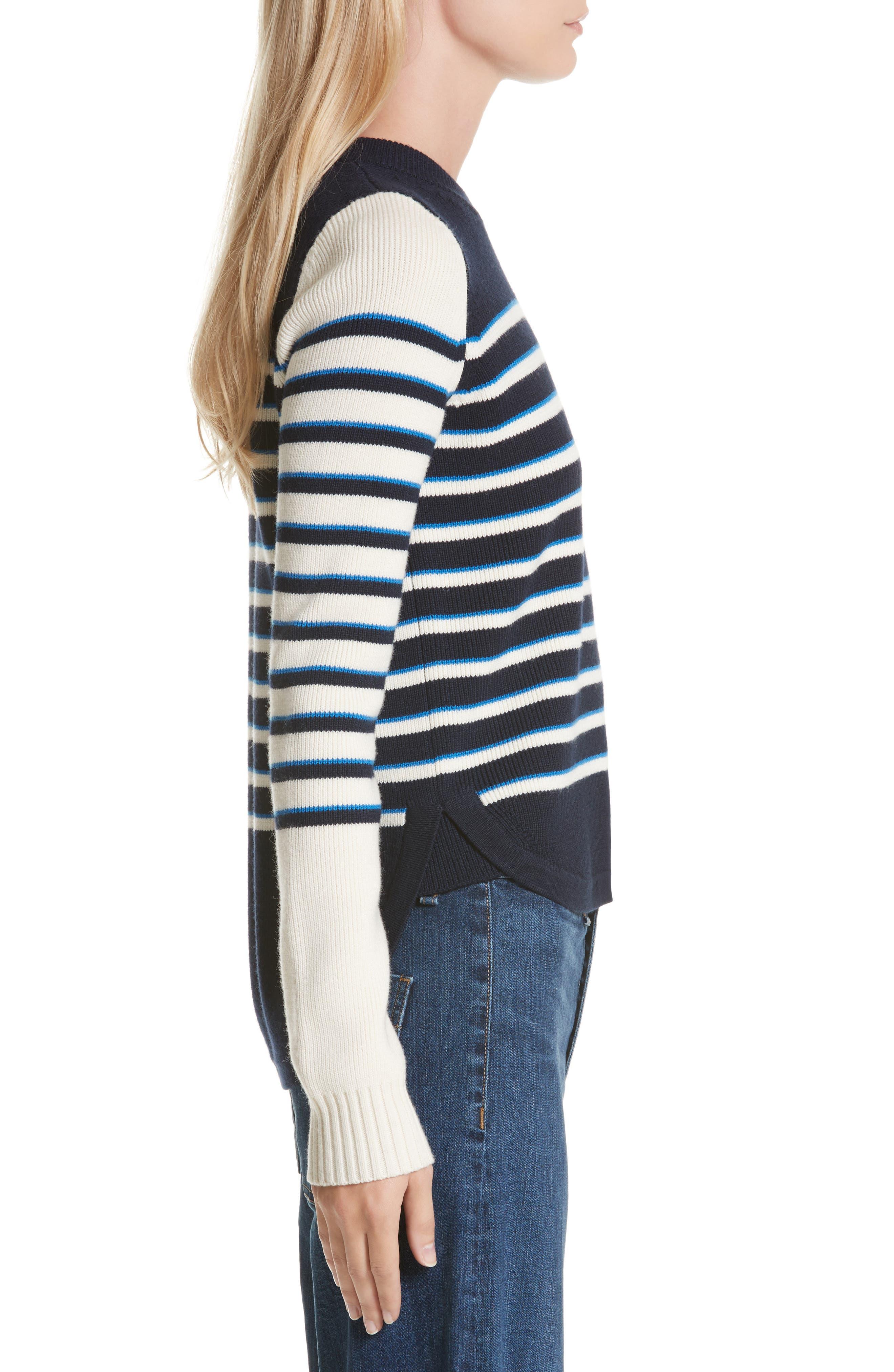 Amos Stripe Merino Wool Sweater,                             Alternate thumbnail 3, color,                             Navy/ Ivory/ Blue