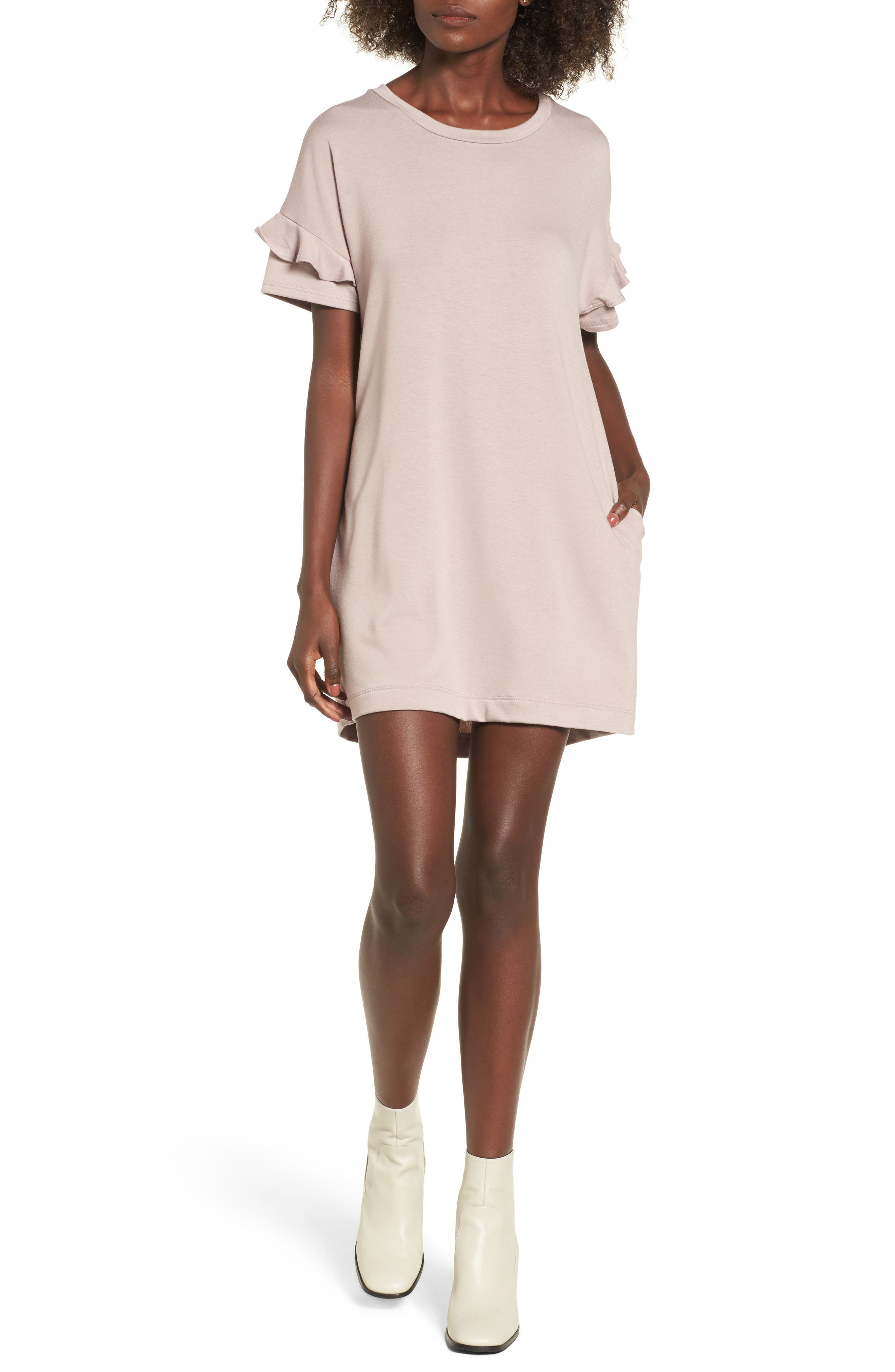 Alternate Image 1 Selected - Ruffle Sleeve T-Shirt Dress