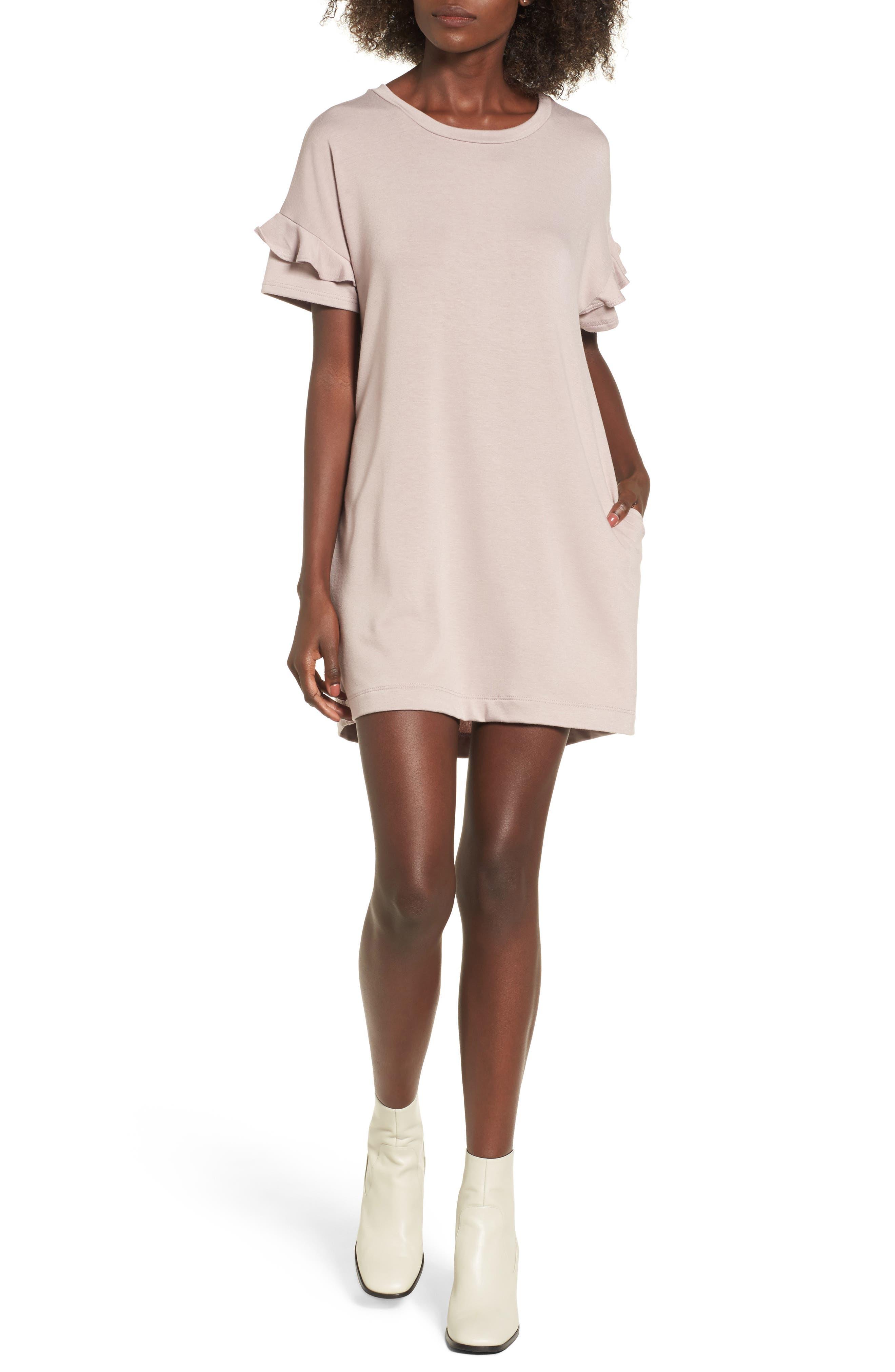 Ruffle Sleeve T-Shirt Dress,                         Main,                         color, Sphinx