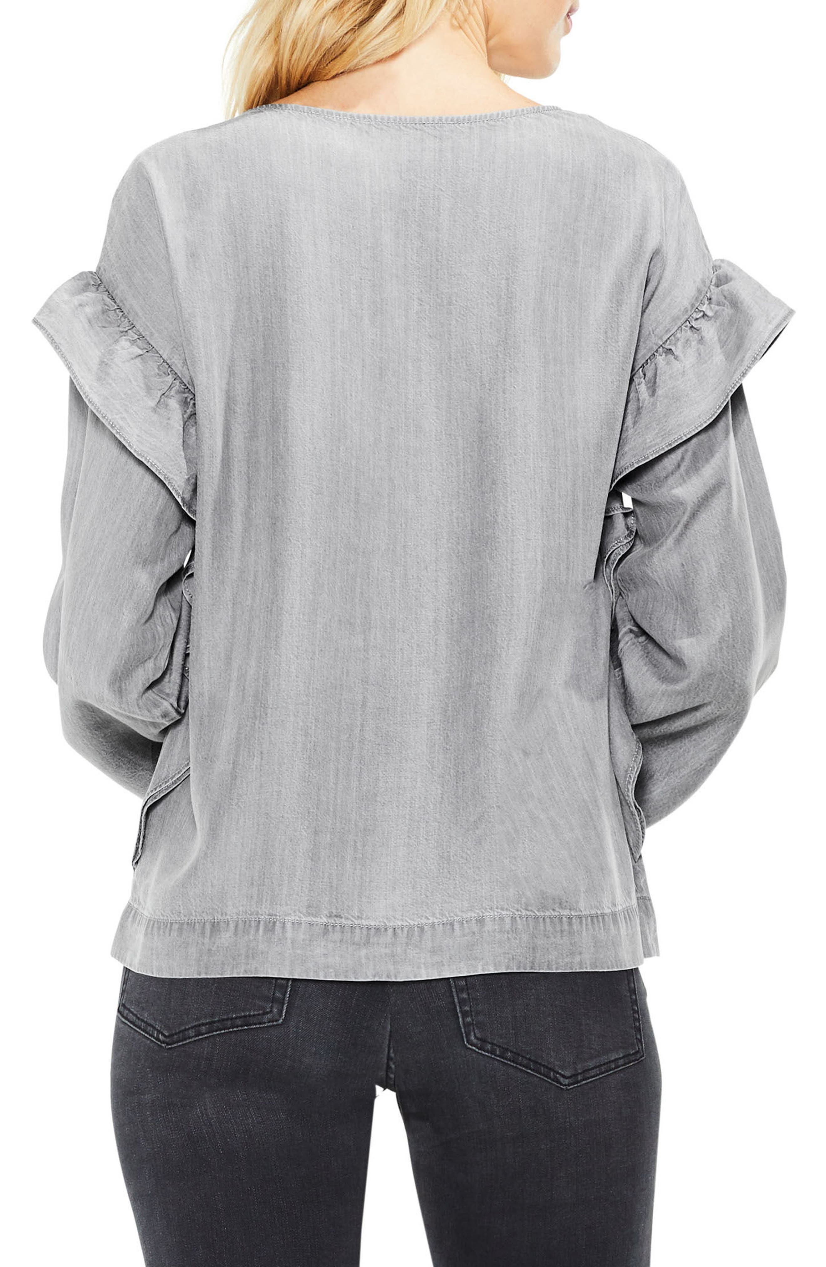 Alternate Image 2  - Two by Vince Camuto Ruffle Shoulder Shirt