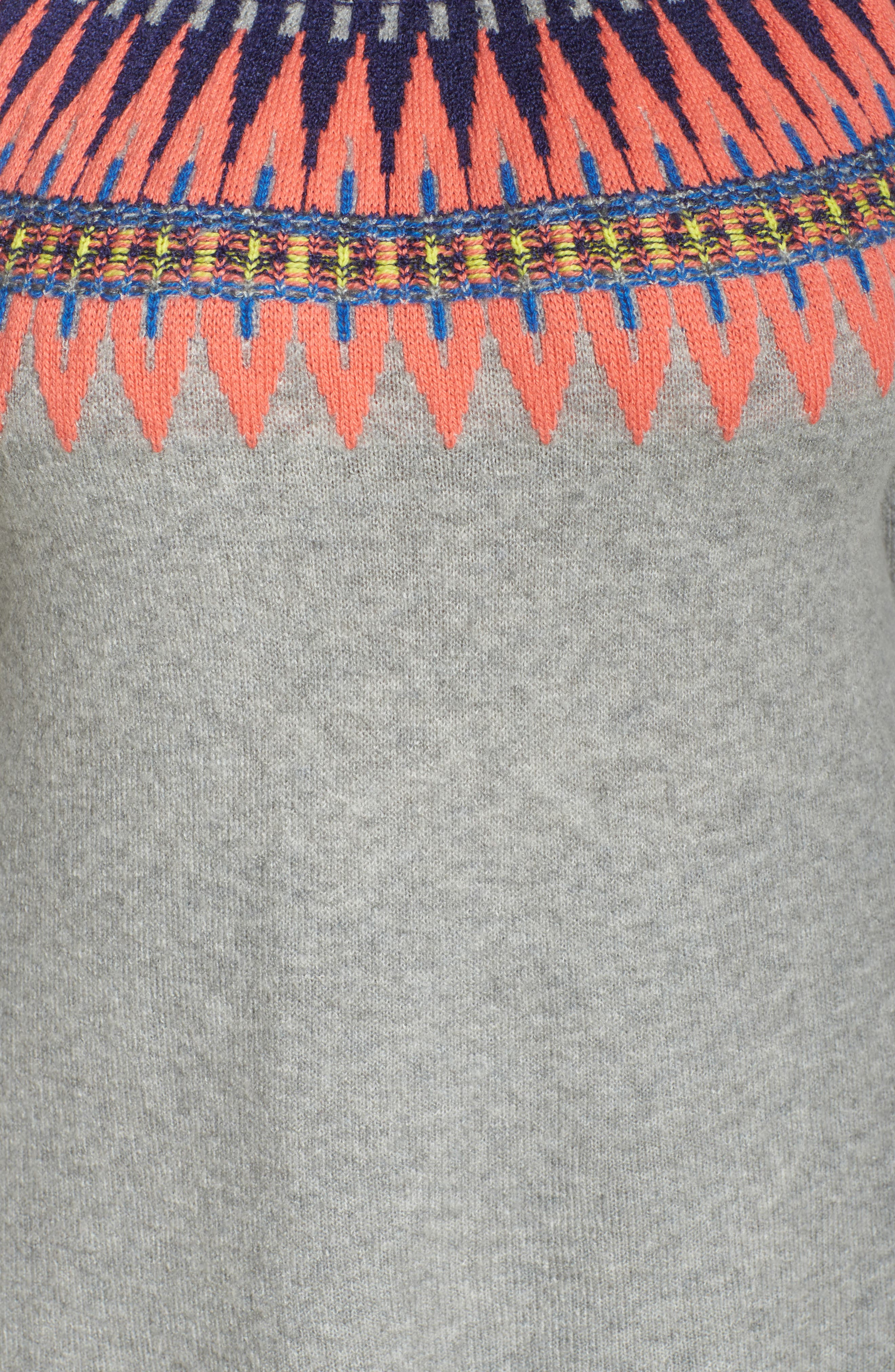 Tie Back Patterned Sweater,                             Alternate thumbnail 6, color,                             Grey- Pink Pattern