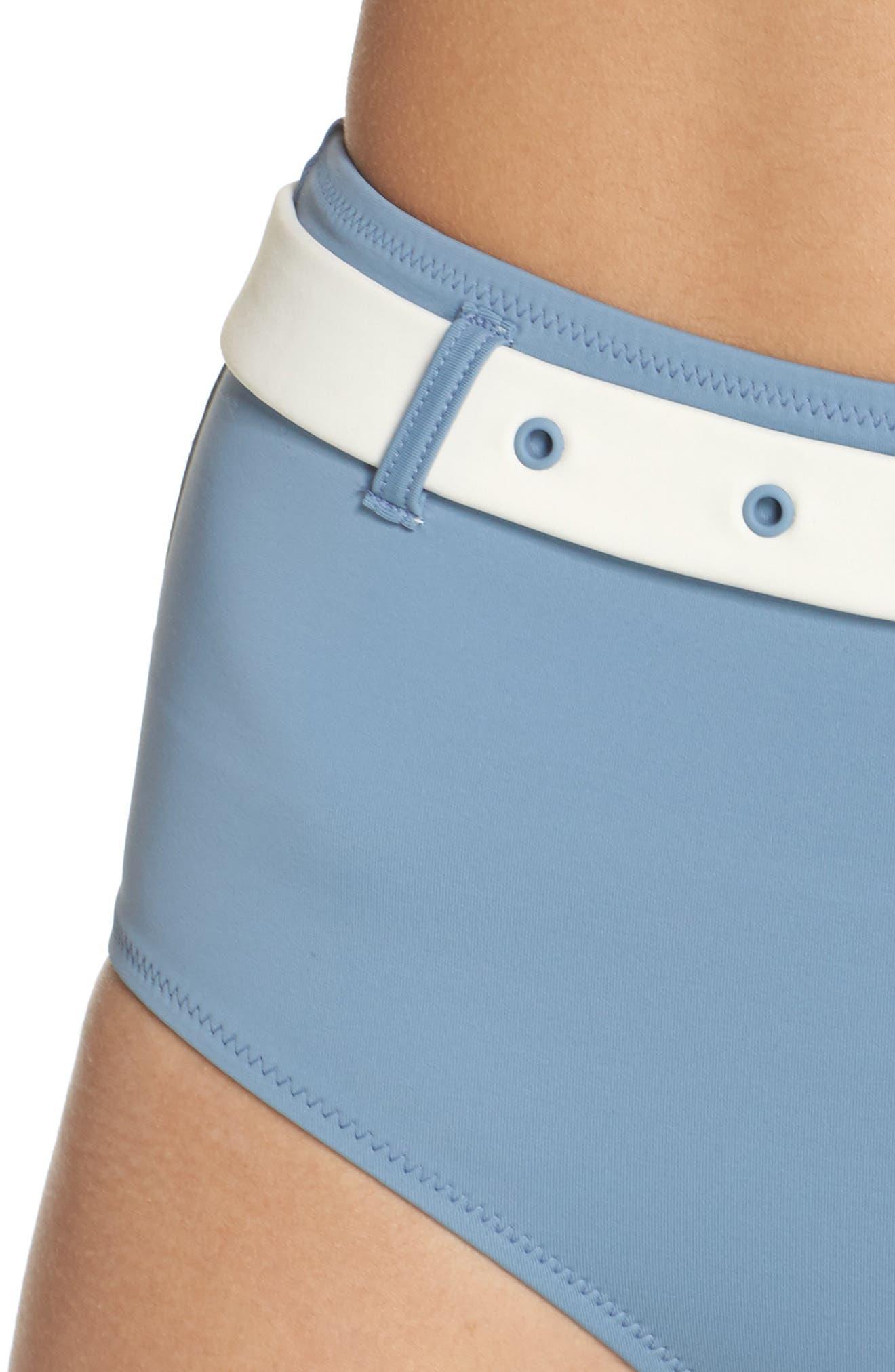 The Quinn Belted High Waist Bikini Bottoms,                             Alternate thumbnail 4, color,                             Ice