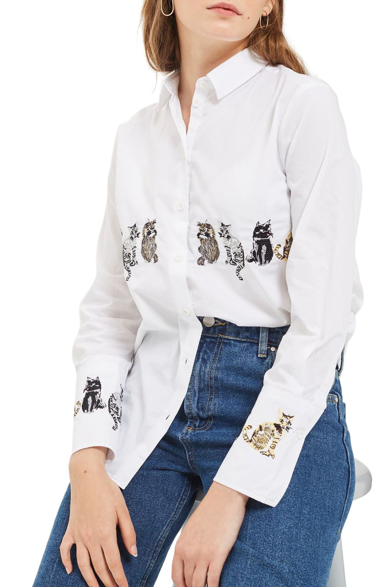 Topshop Embroidered Cat Shirt
