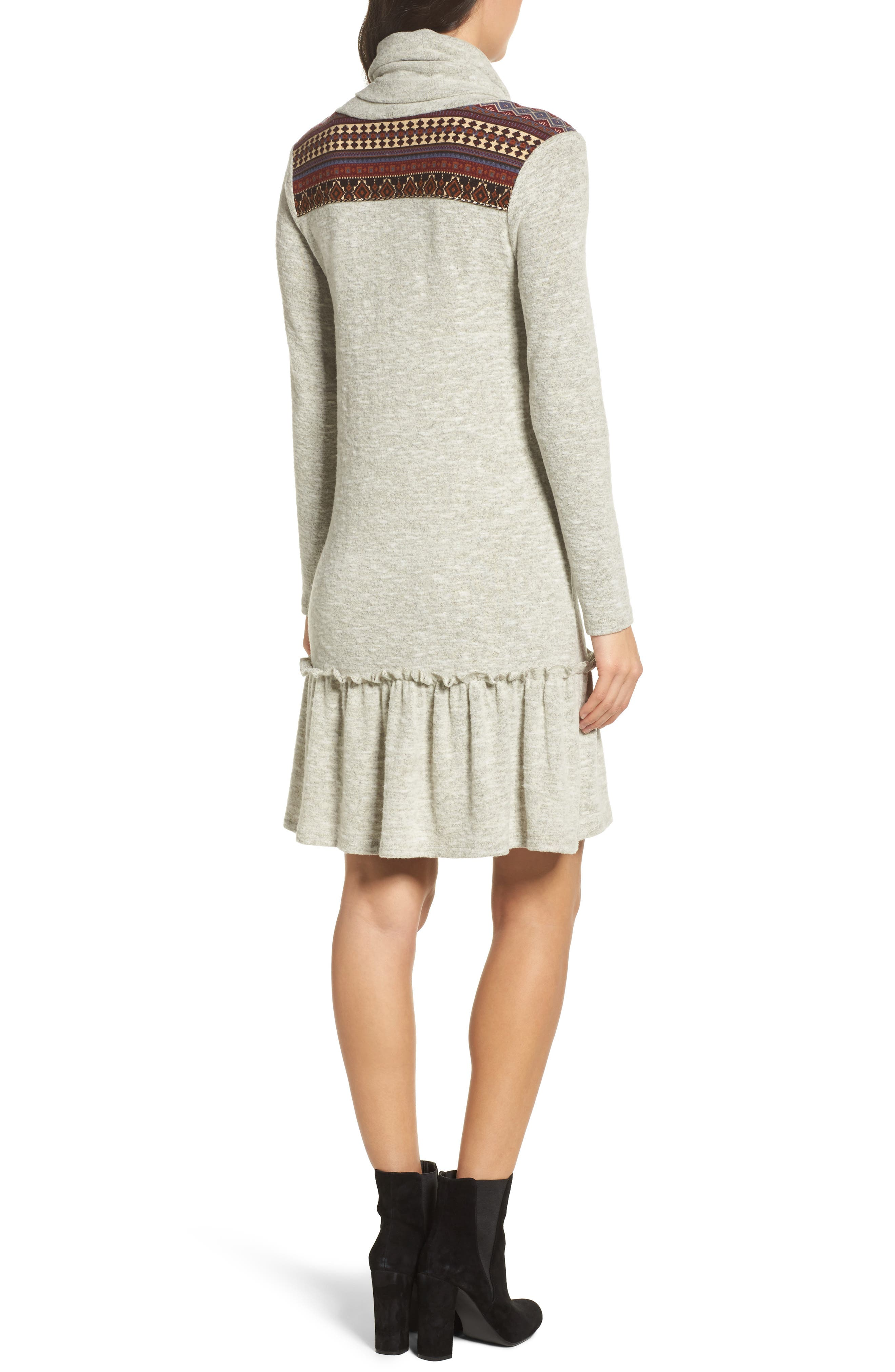Drop Waist Sweater Dress,                             Alternate thumbnail 2, color,                             Heather Grey