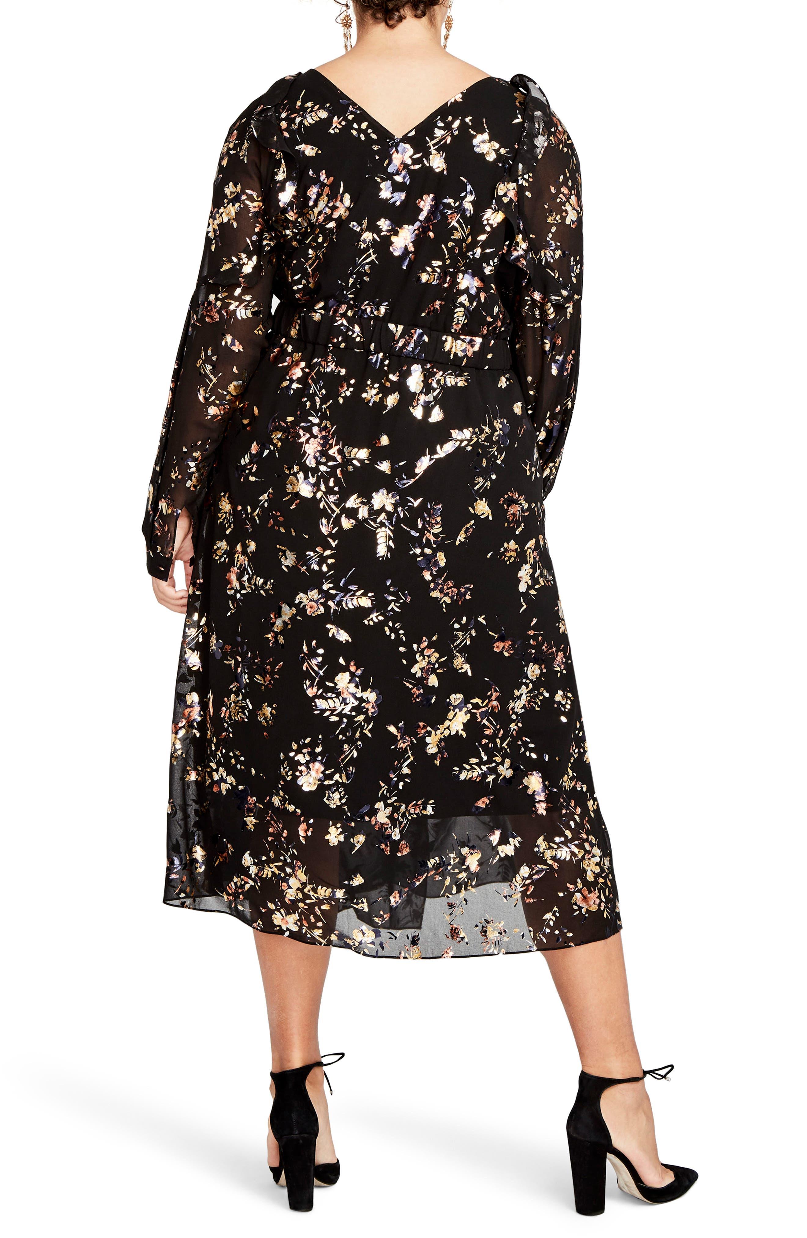 Foiled Floral Faux Wrap Dress,                             Alternate thumbnail 2, color,                             Black Combo