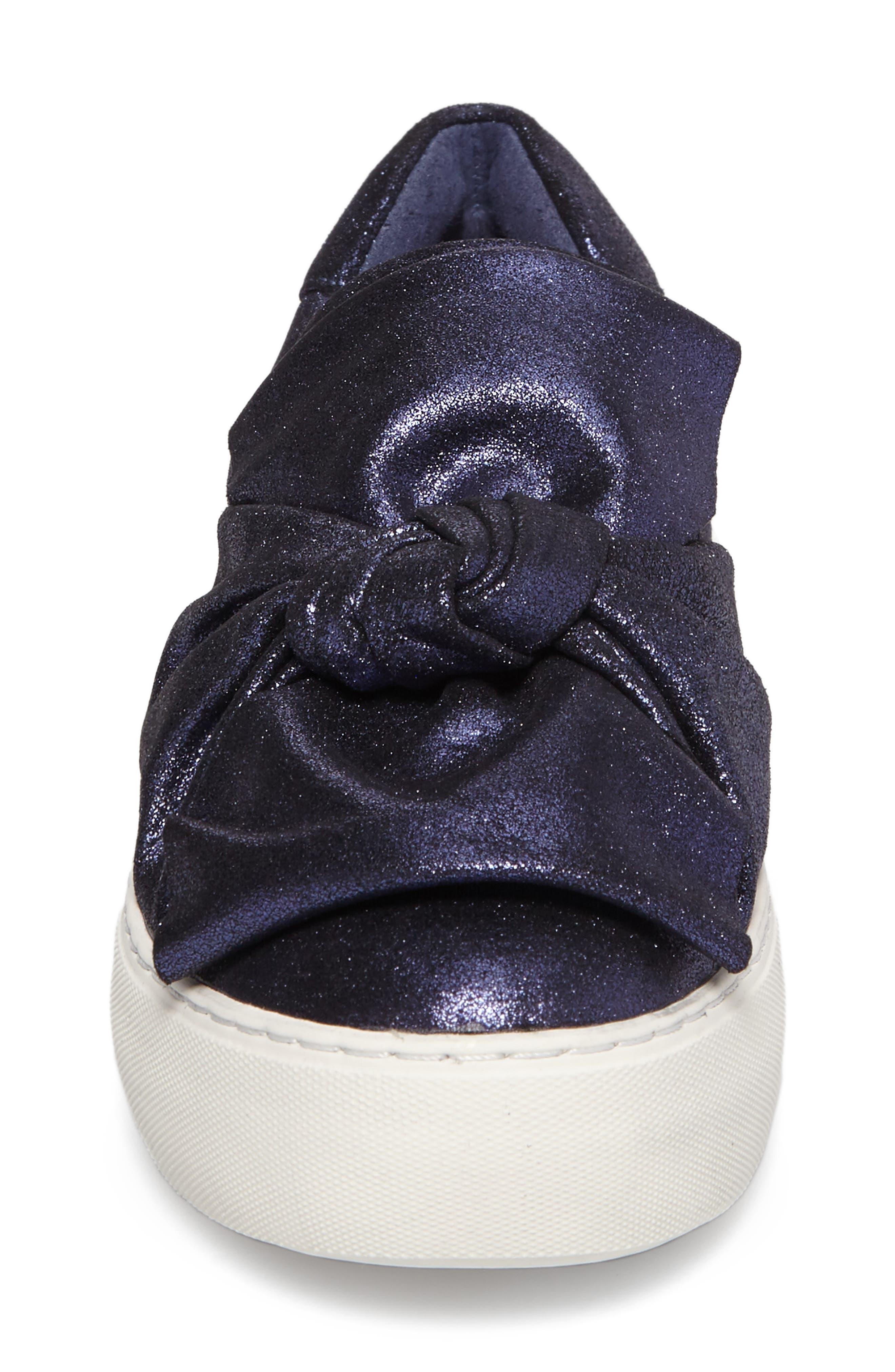 Audra Slip-On Sneaker,                             Alternate thumbnail 4, color,                             Navy Leather