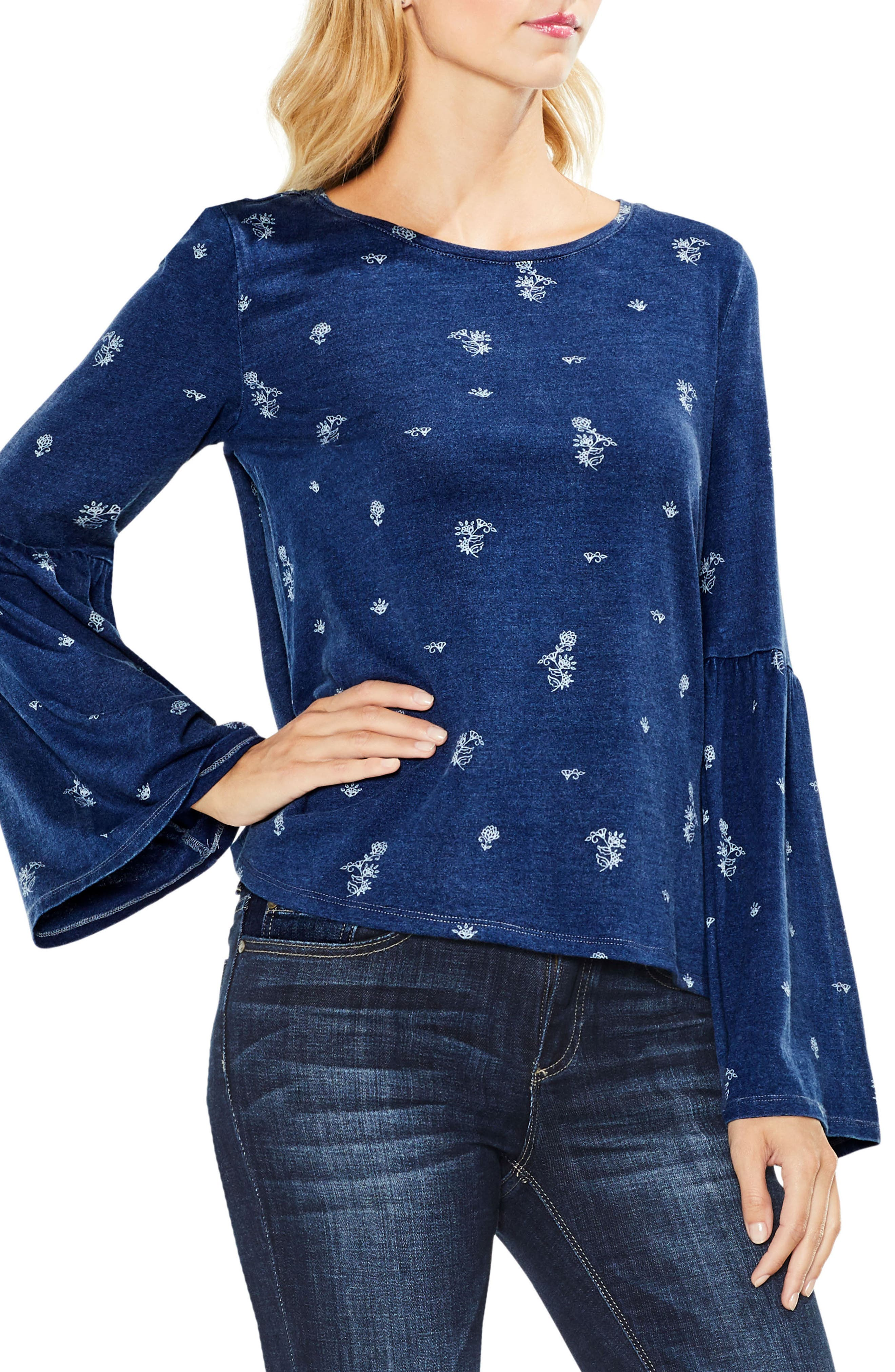 Two by Vince Camuto Delicate Ditsy Bell Sleeve Top