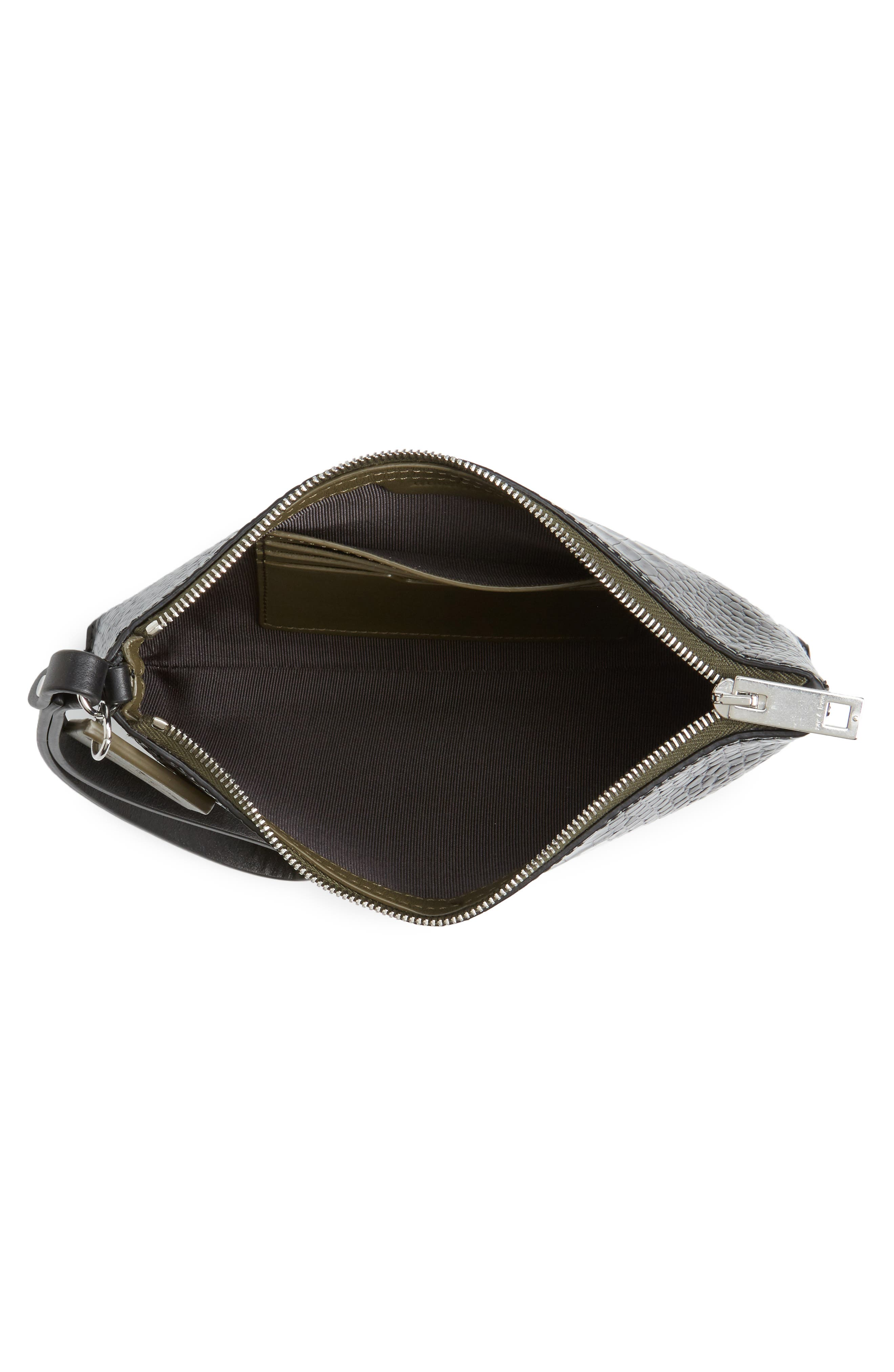 Croc Embossed Leather Wristlet,                             Alternate thumbnail 4, color,                             Black Croco