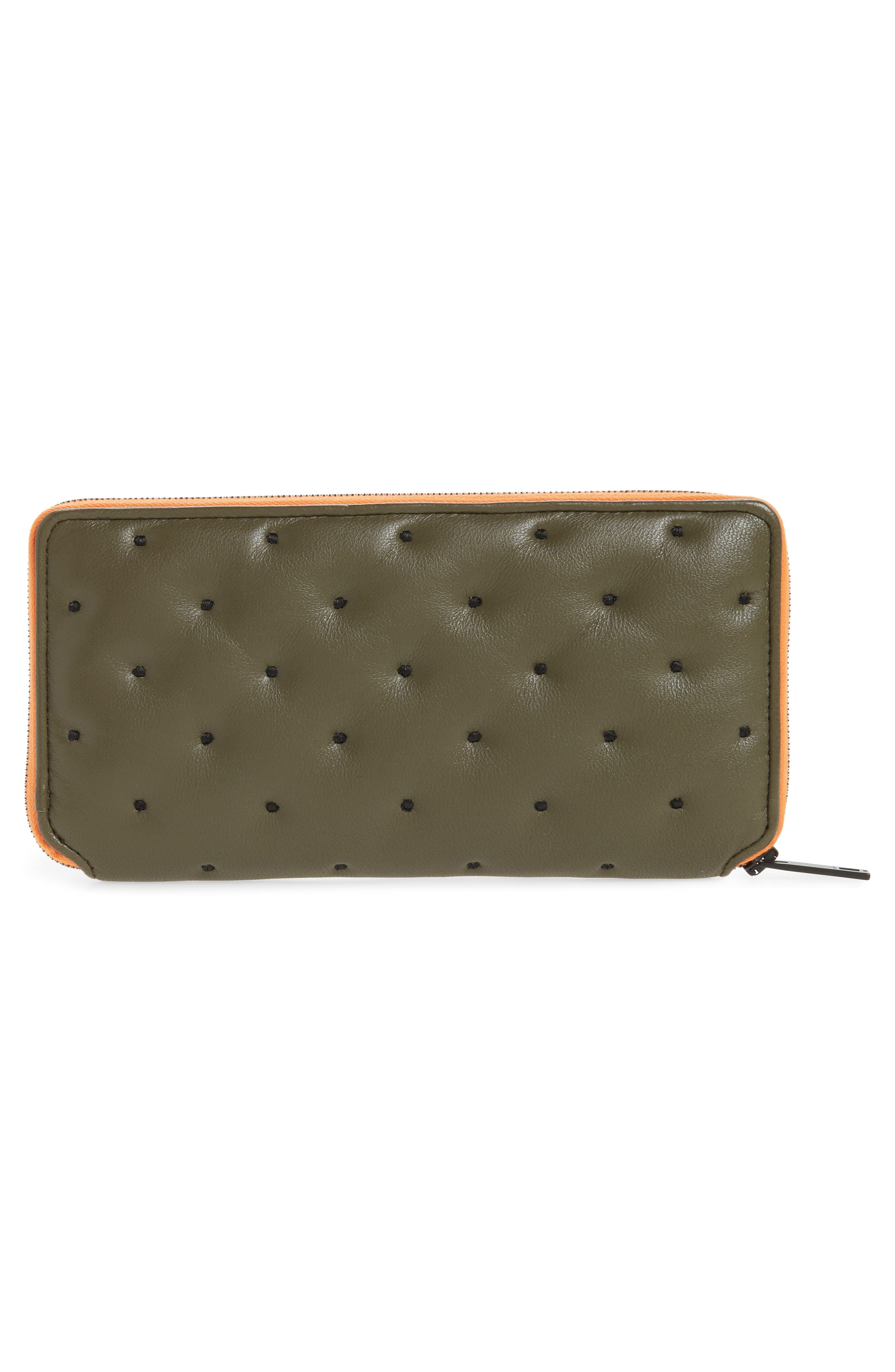 Dot Dash Quilted Leather Zip Around Wallet,                             Alternate thumbnail 4, color,                             Green Dot Dash Quilt