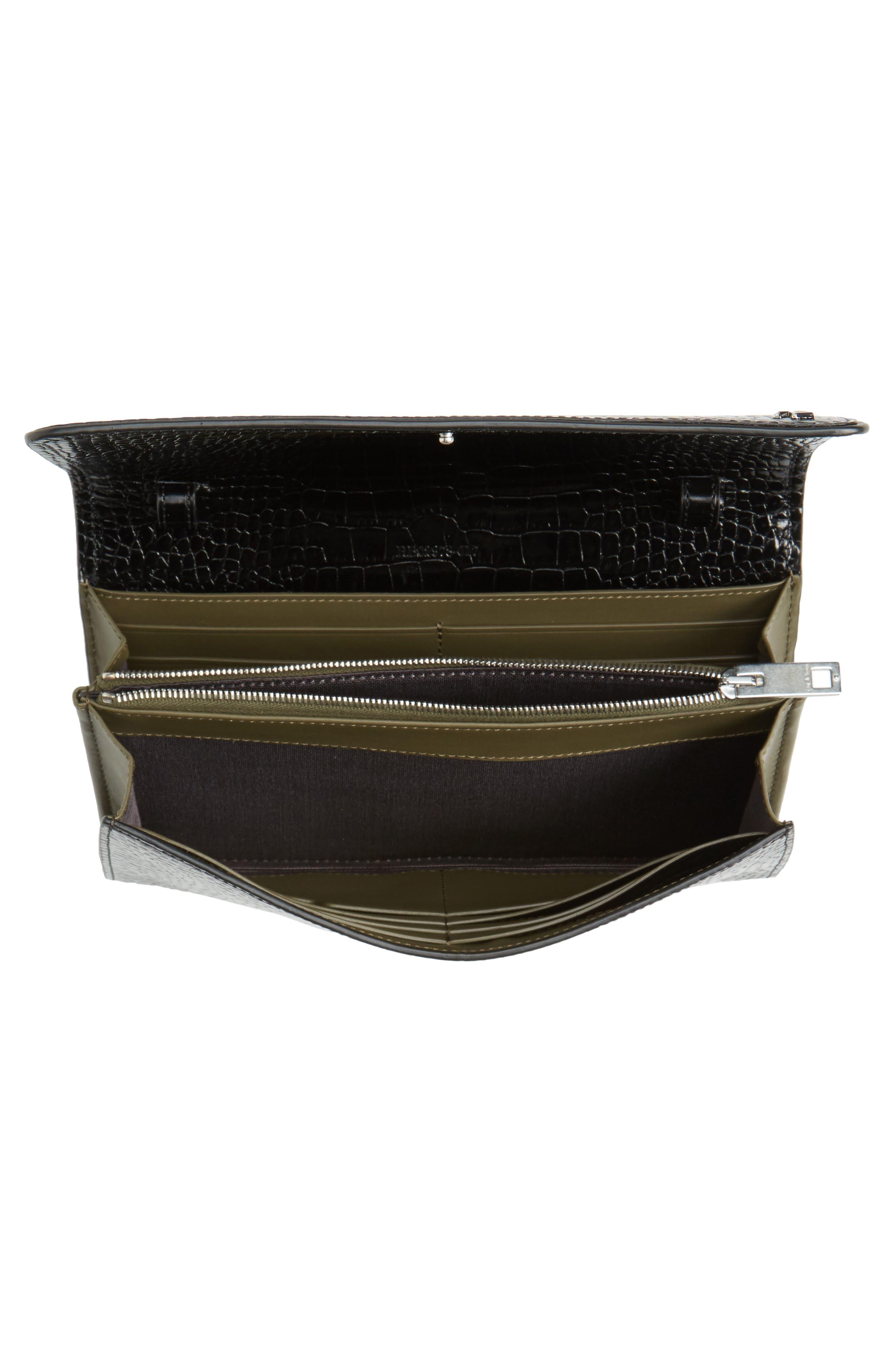 Croc-Embossed Leather Crossbody Wallet,                             Alternate thumbnail 4, color,                             Black Croco