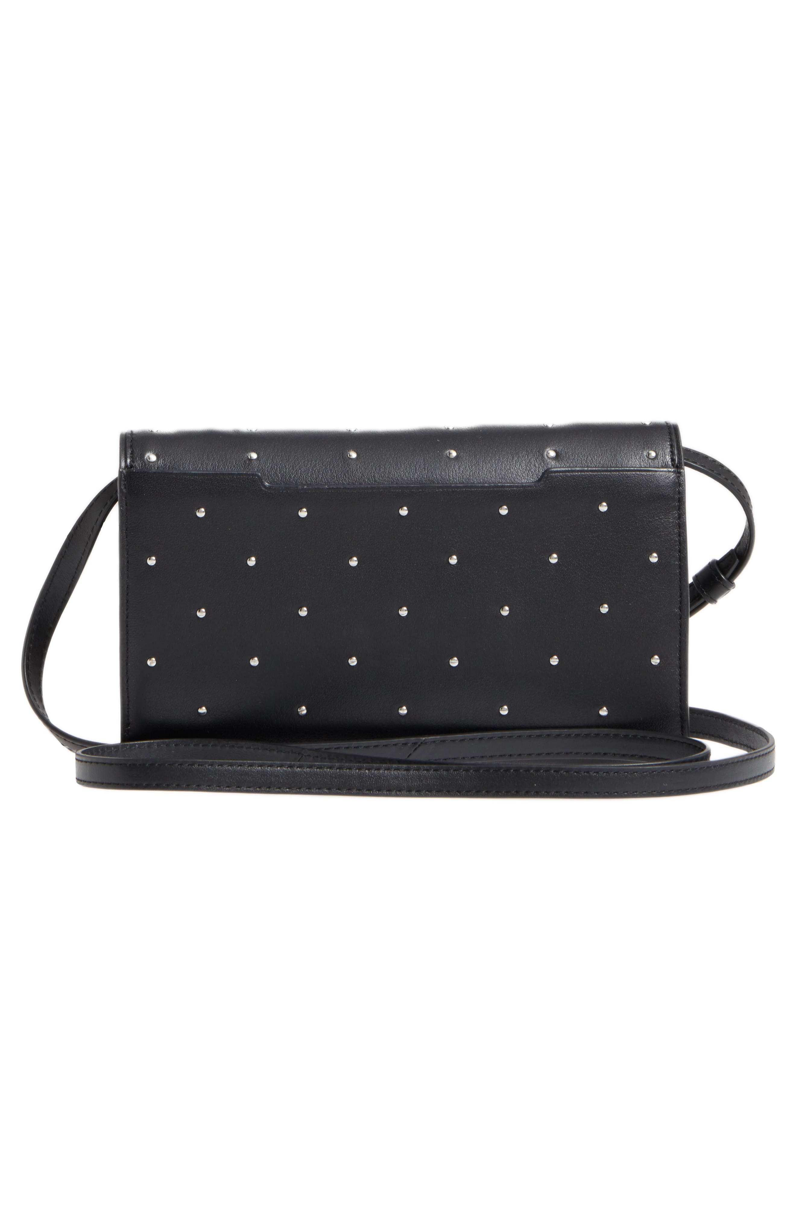 Studded Leather Crossbody Wallet,                             Alternate thumbnail 3, color,                             Black Studs