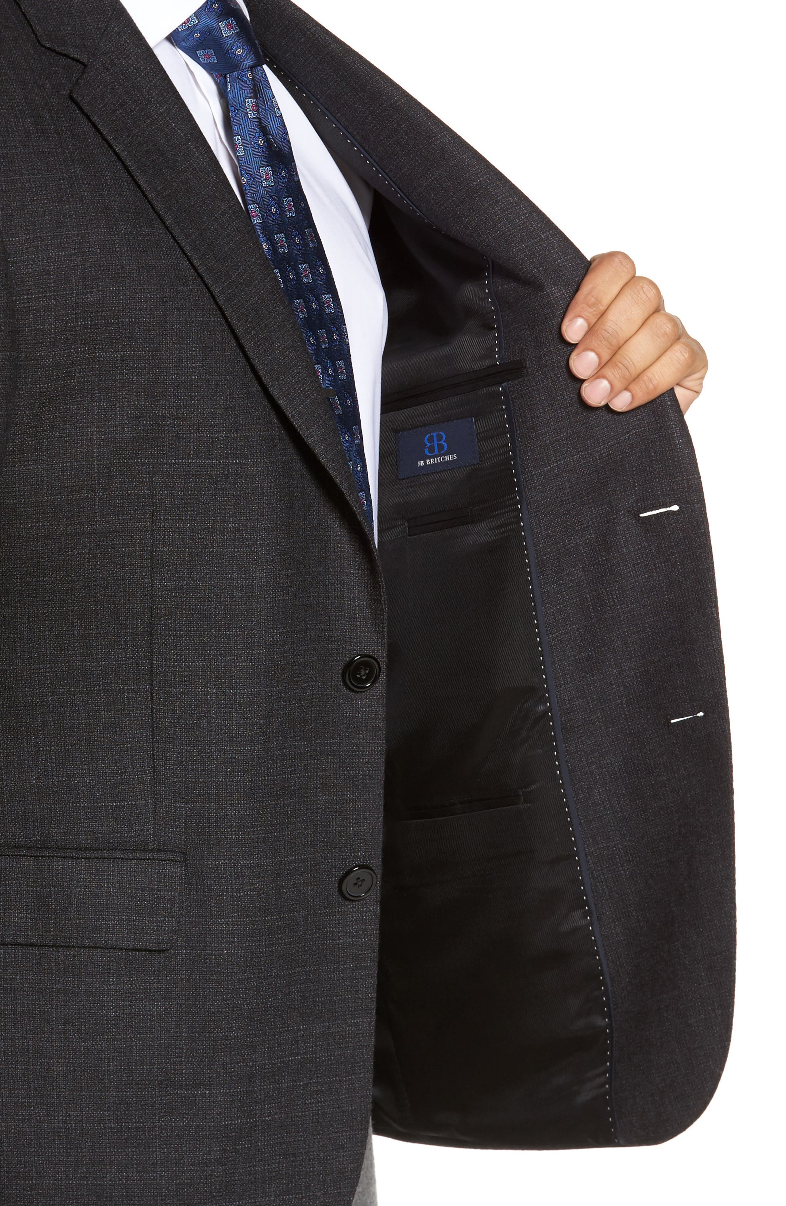 Classic Fit Wool Blazer,                             Alternate thumbnail 4, color,                             Charcoal