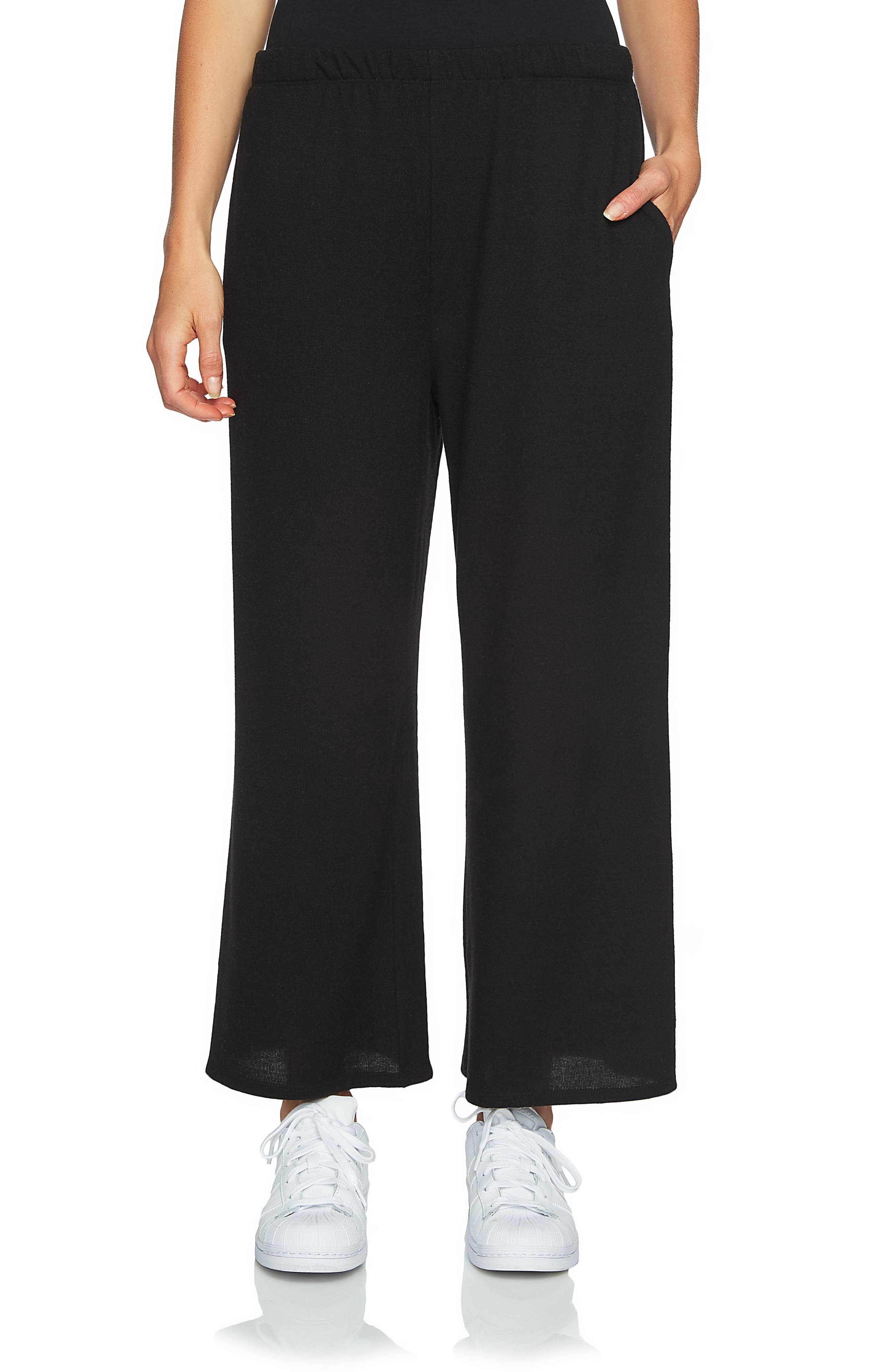 Brushed Jersey Culottes,                         Main,                         color, Rich Black