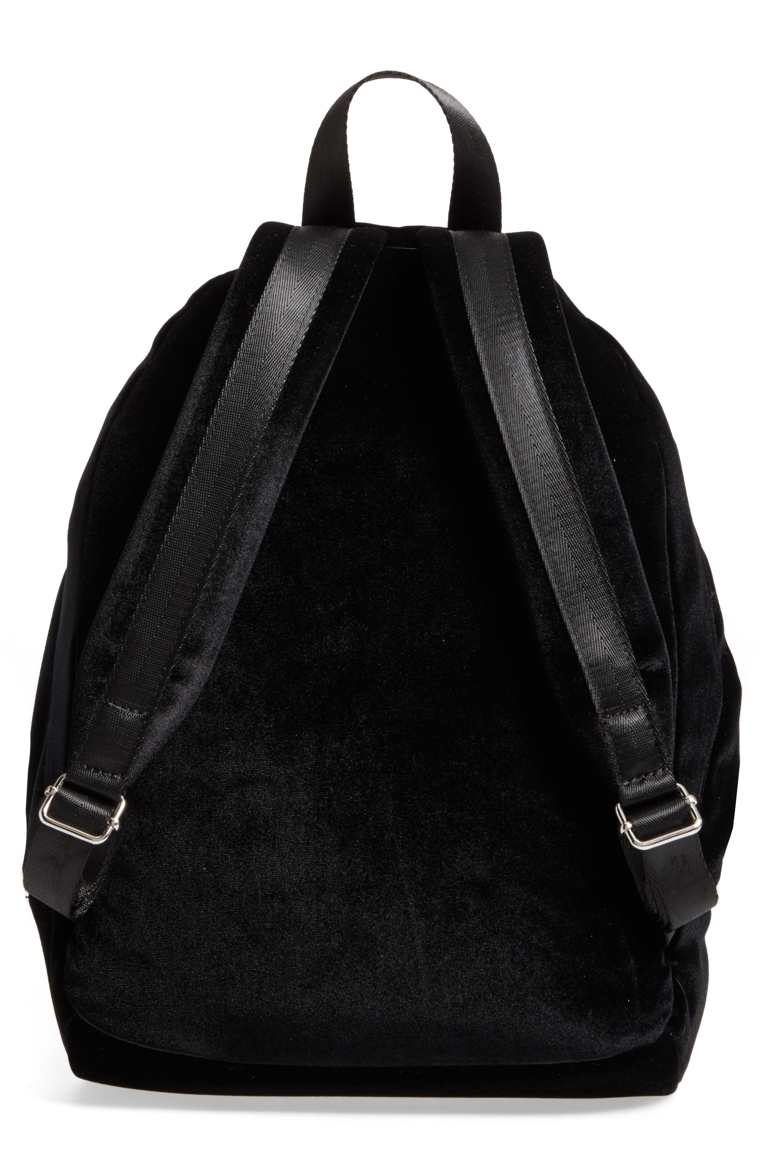 Velvet Backpack,                             Alternate thumbnail 3, color,                             Black