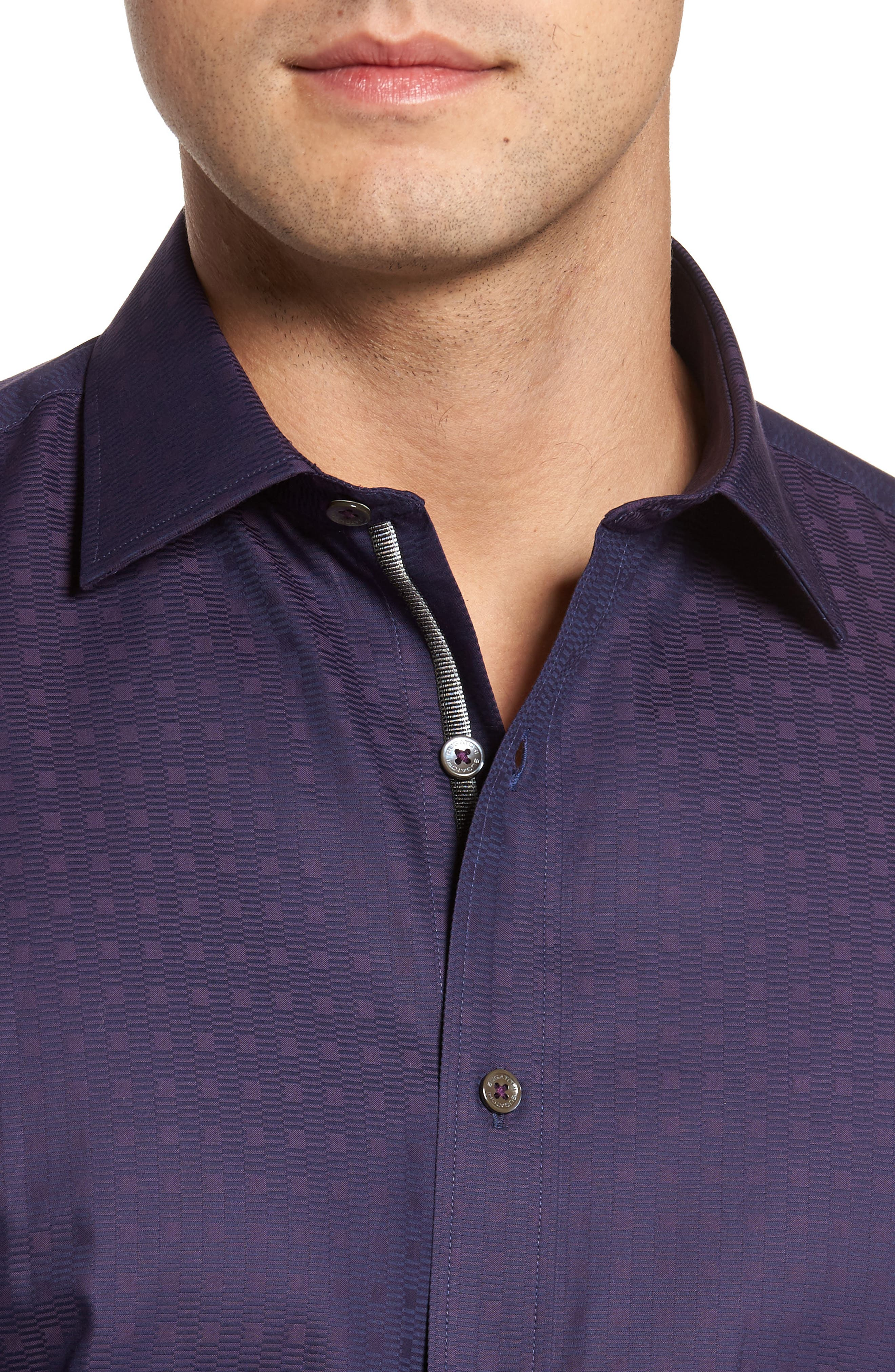 Classic Fit Geo Jacquard Sport Shirt,                             Alternate thumbnail 4, color,                             Plum