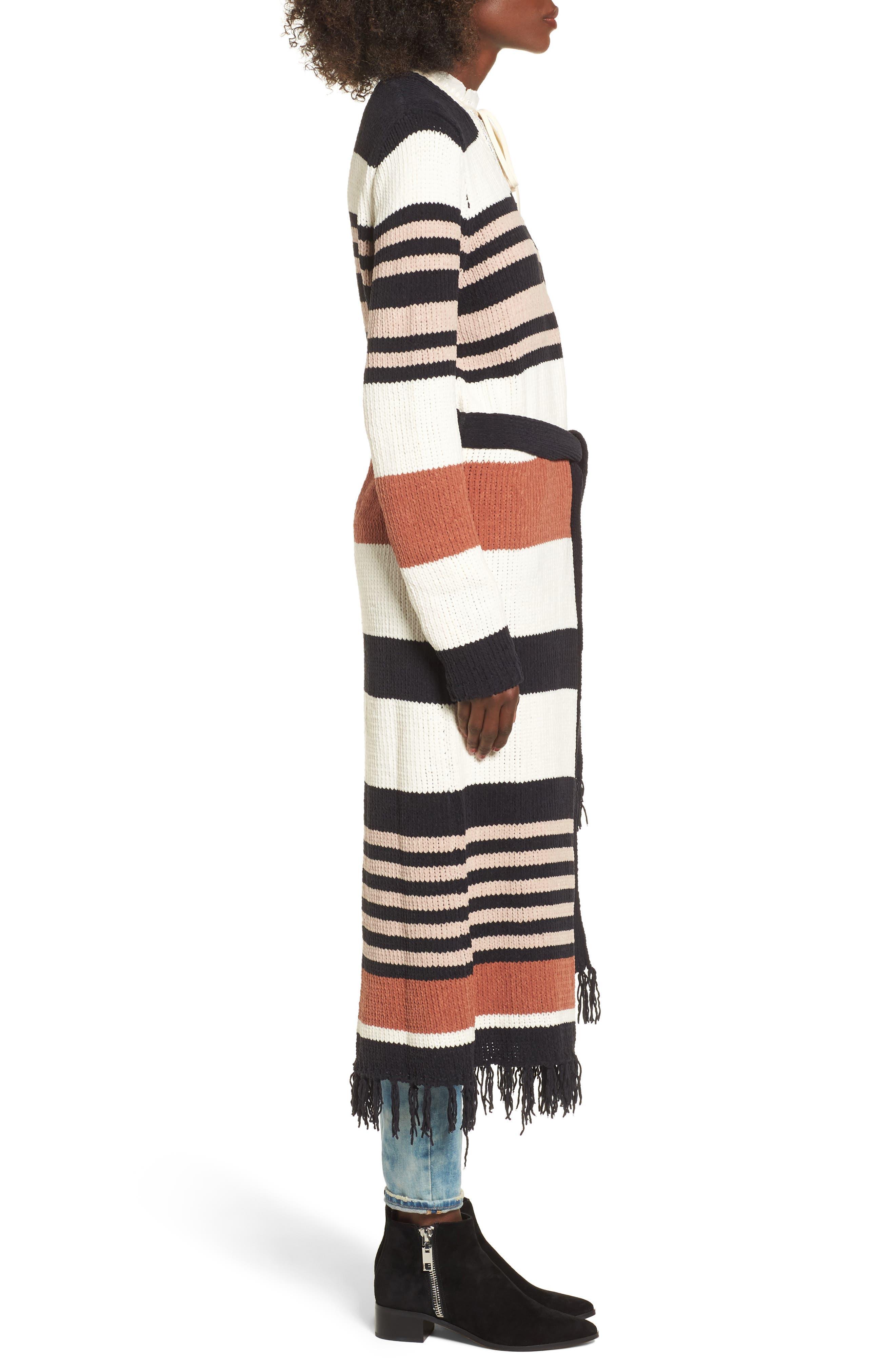 Belted Stripe Knit Duster,                             Alternate thumbnail 3, color,                             Black Stripe
