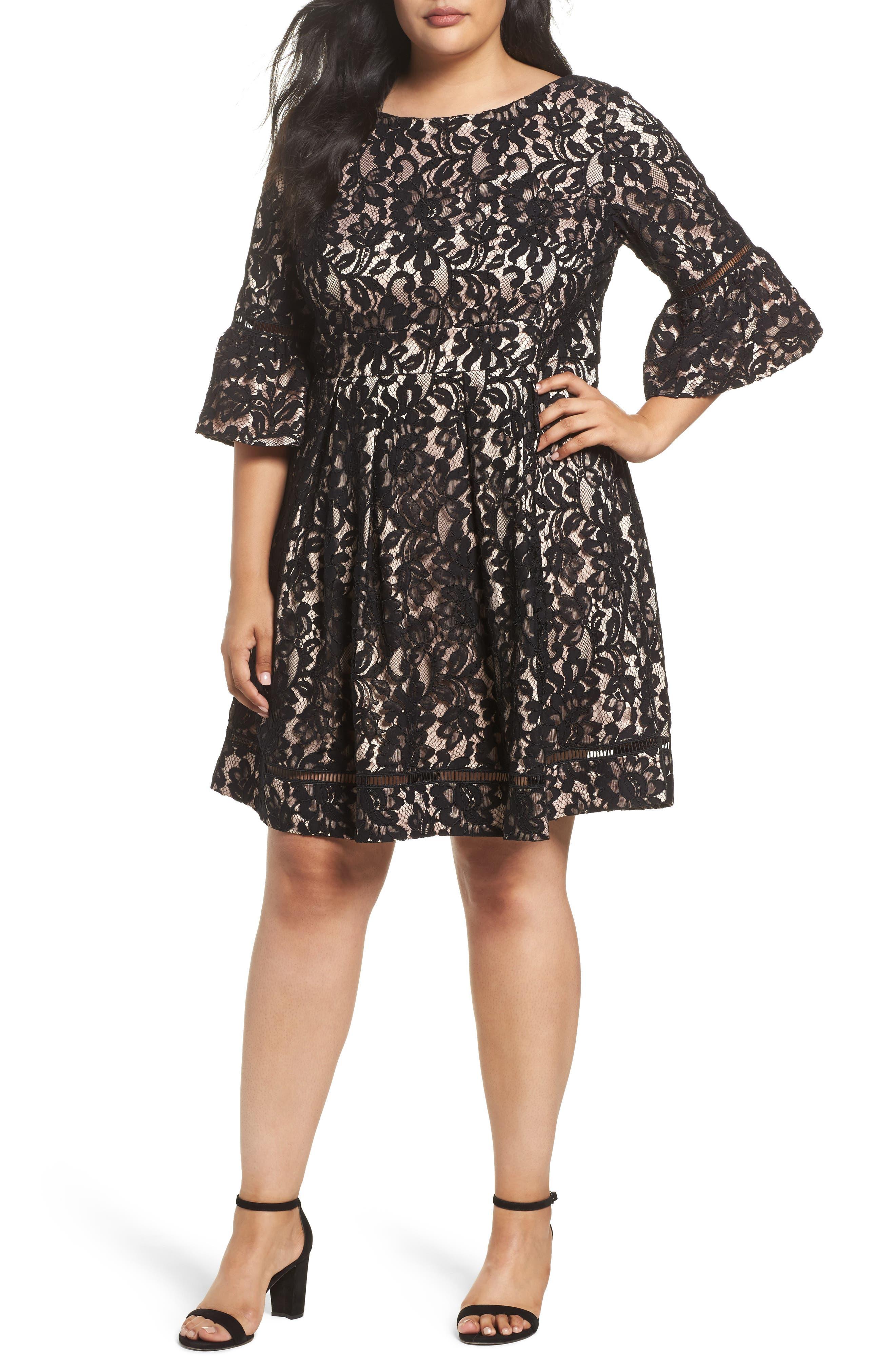 Fit & Flare Lace Dress,                             Main thumbnail 1, color,                             Black