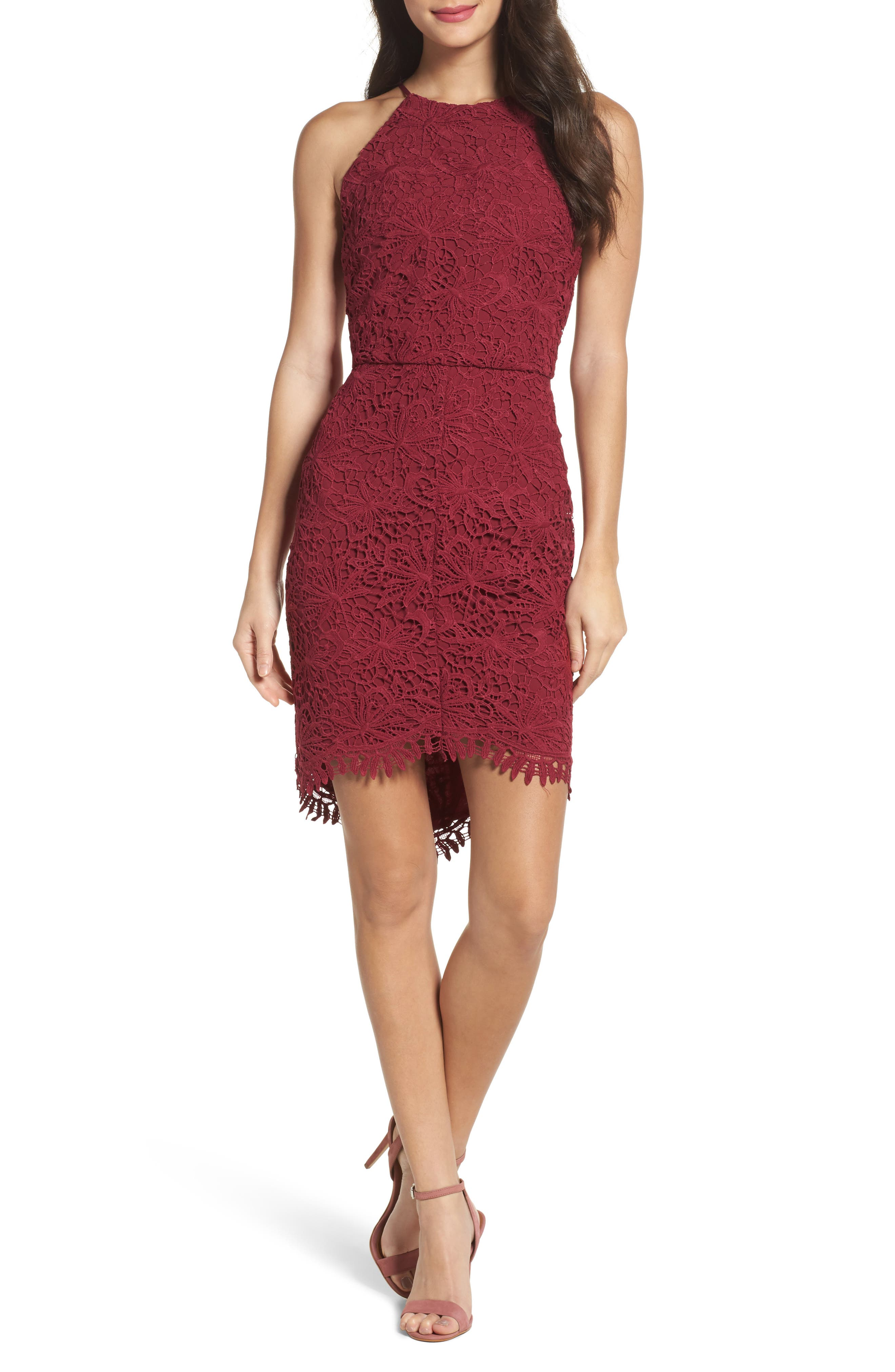 Louise Sheath Dress,                             Main thumbnail 1, color,                             Claret