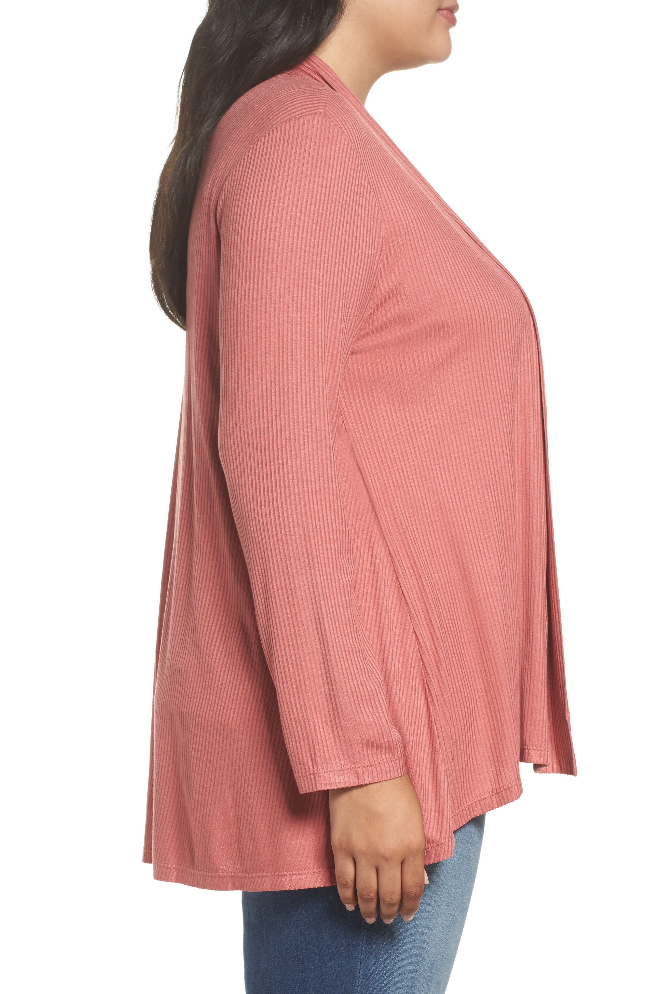 Alternate Image 3  - Bobeau Drape Front Ribbed Cardigan (Plus Size)