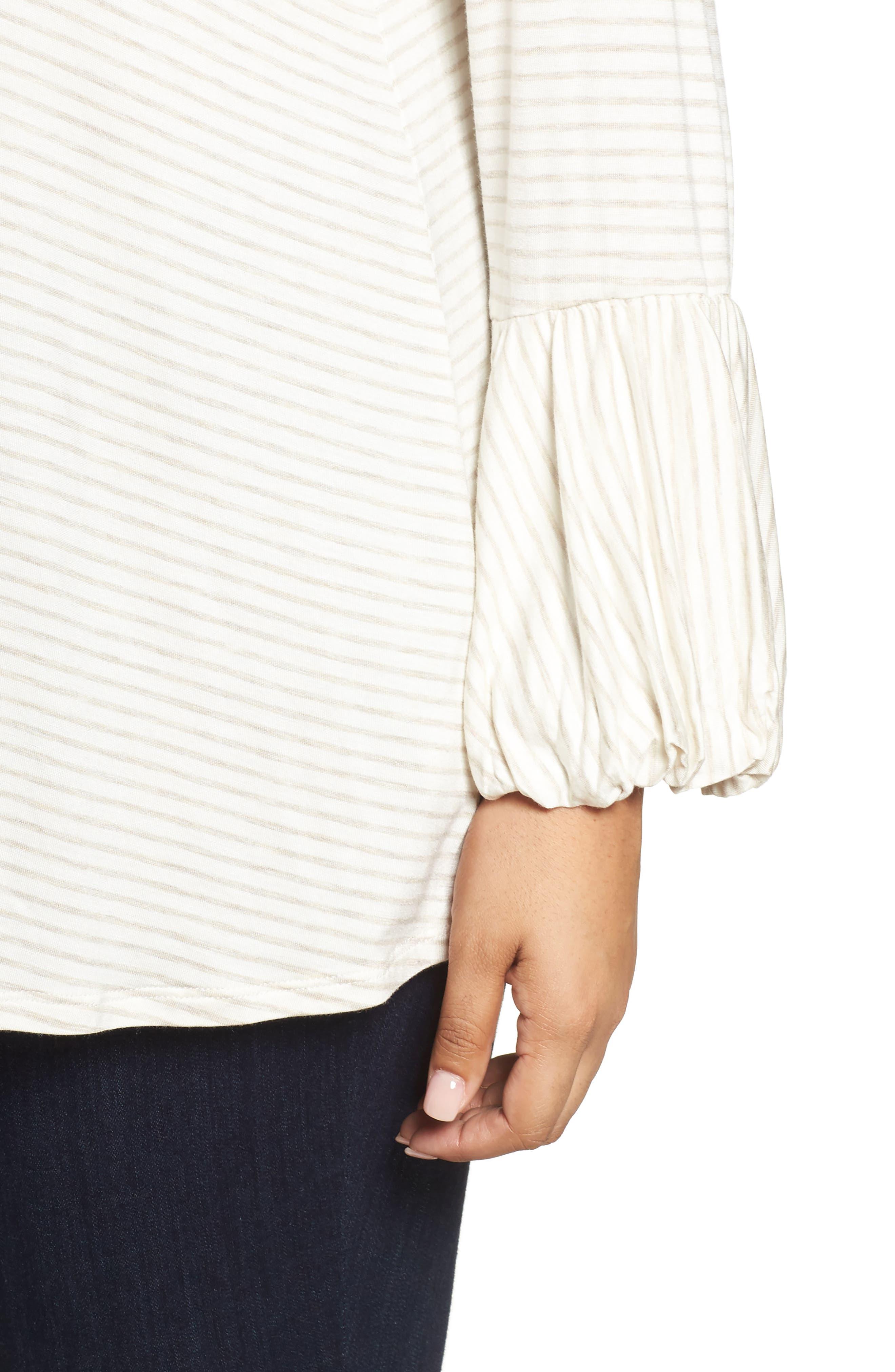 Alternate Image 4  - Bobeau Ruffle Cuff Stripe Top (Plus Size)