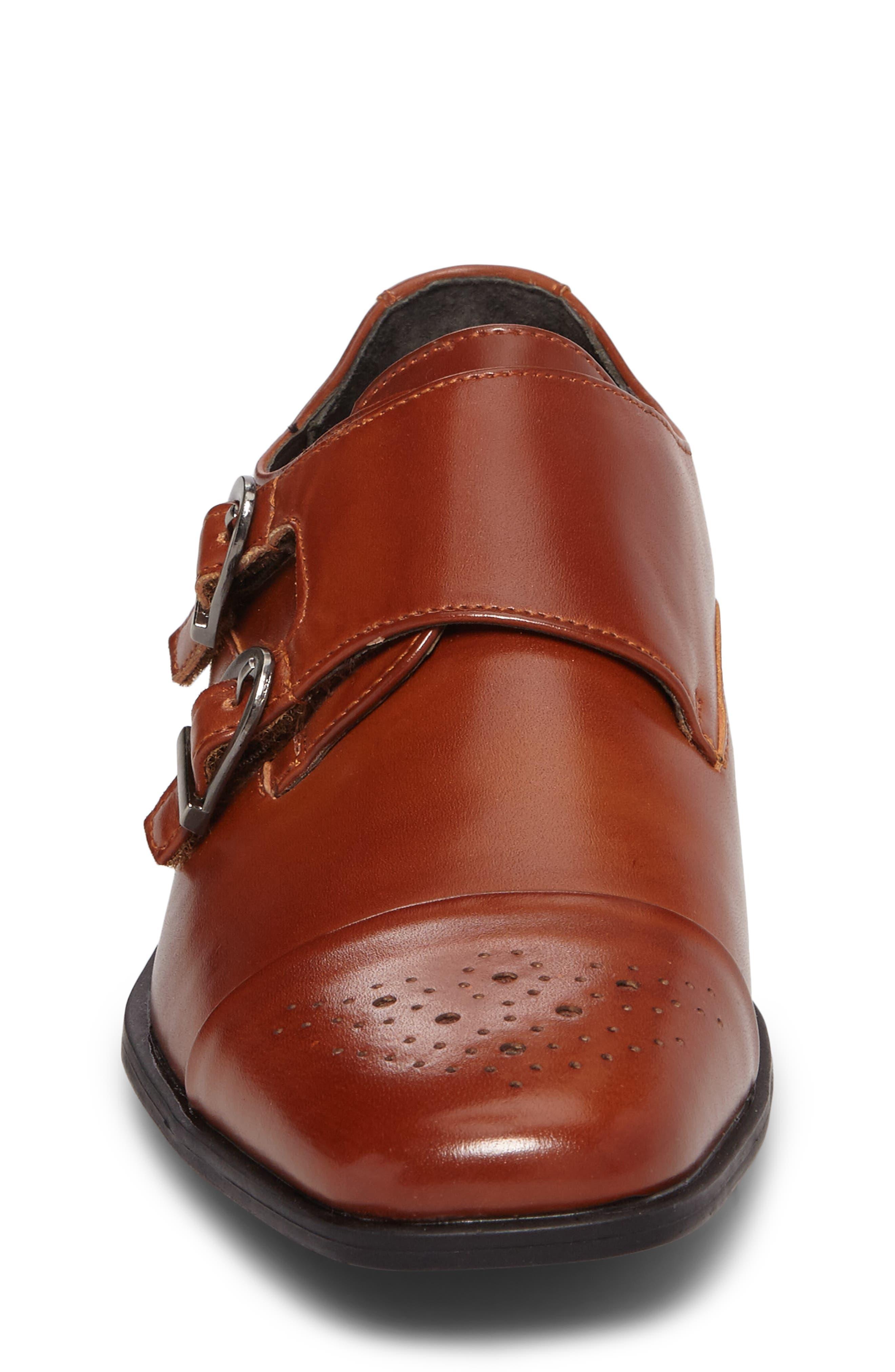 Trevor Cap Toe Monk Shoe,                             Alternate thumbnail 4, color,                             Cognac