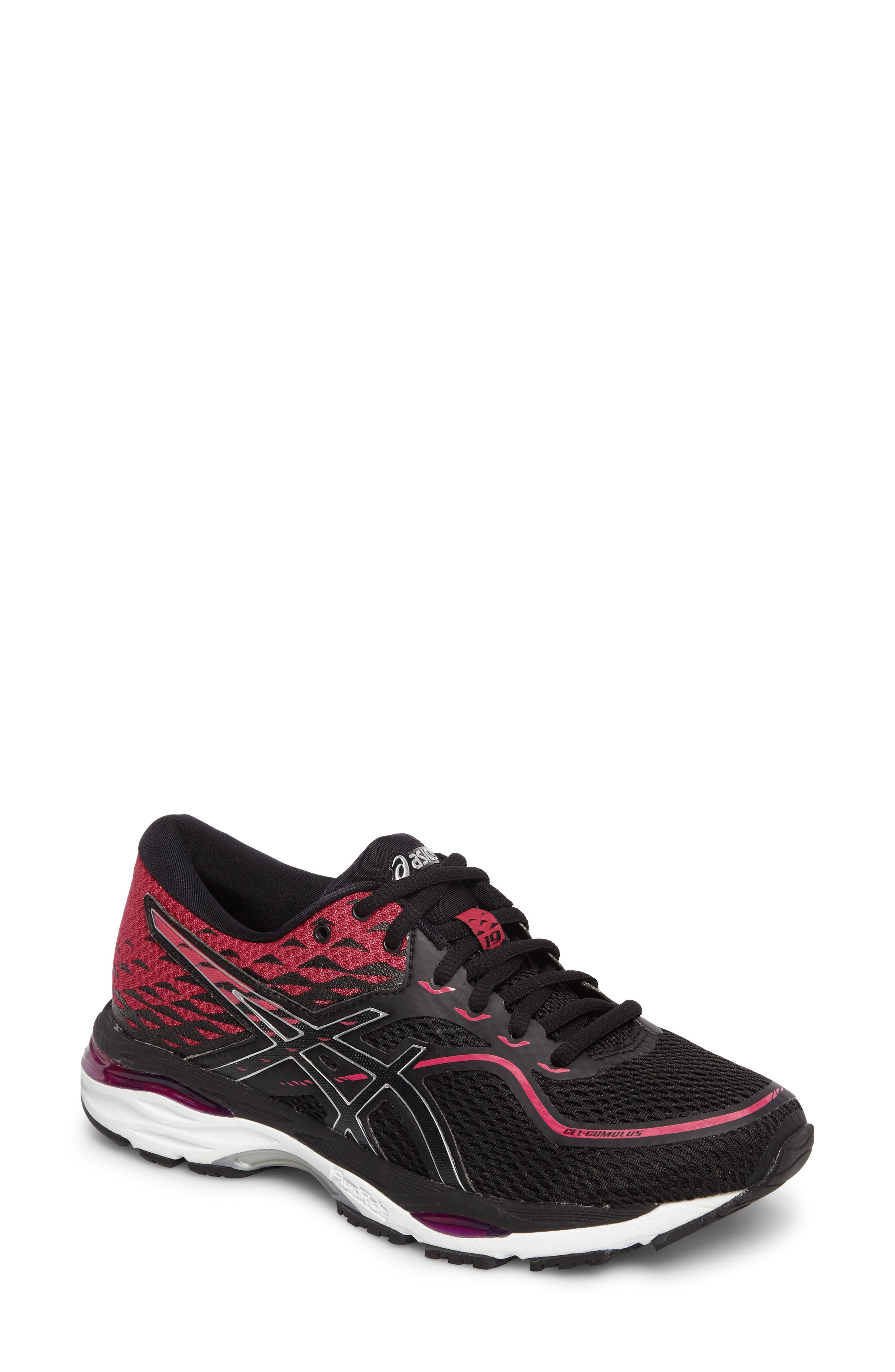Gel Cumulus 19 2A Running Shoe,                             Main thumbnail 1, color,                             Black/ Silver/ Pink Peacock