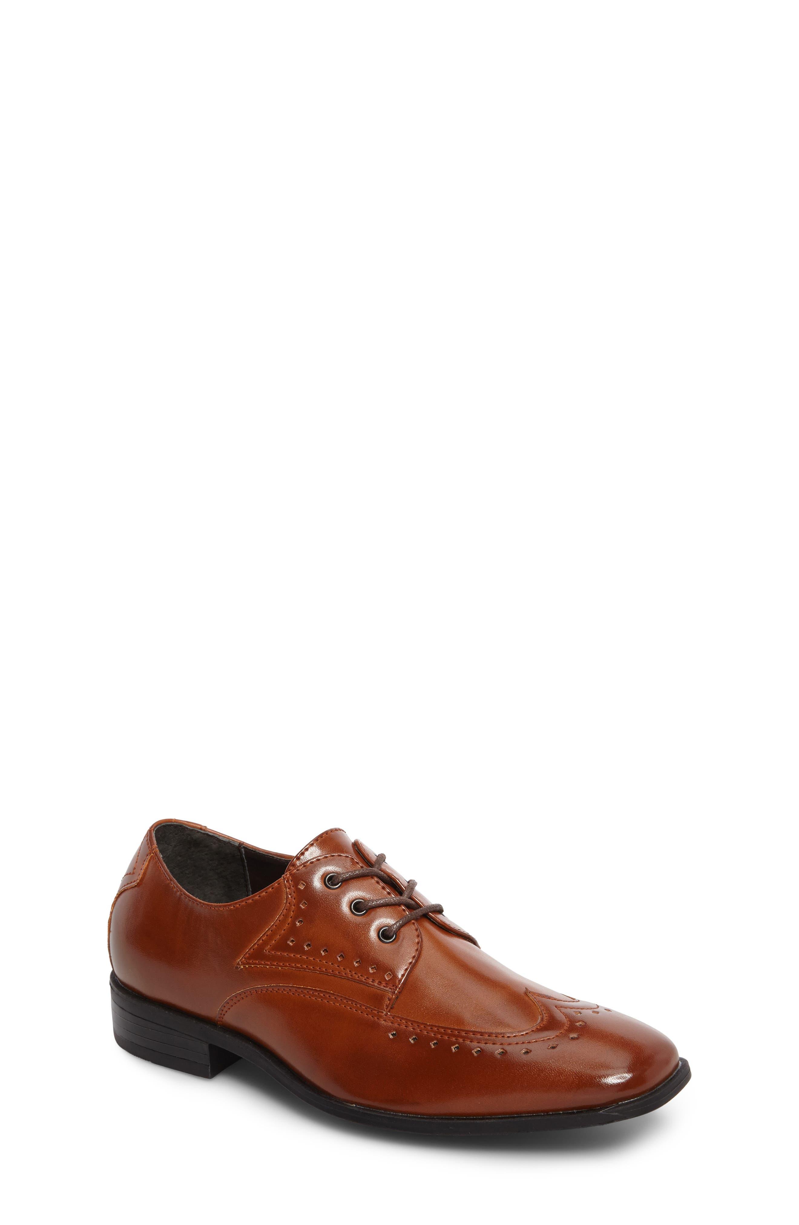 Atticus Square Toe Wingtip Oxford,                             Main thumbnail 1, color,                             Cognac