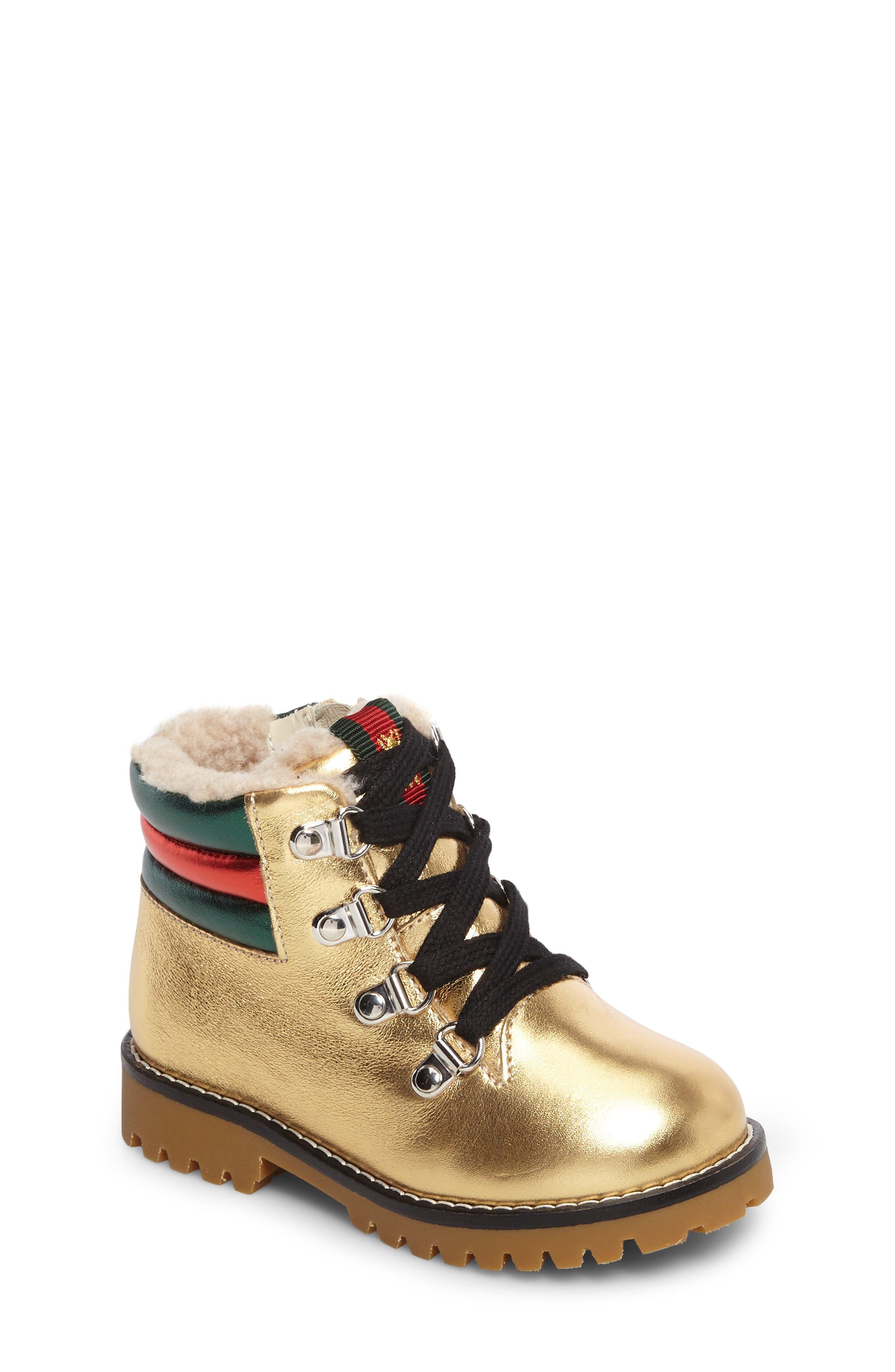 Gucci Jonathan Faux Fur Metallic Boot (Baby, Walker & Toddler)