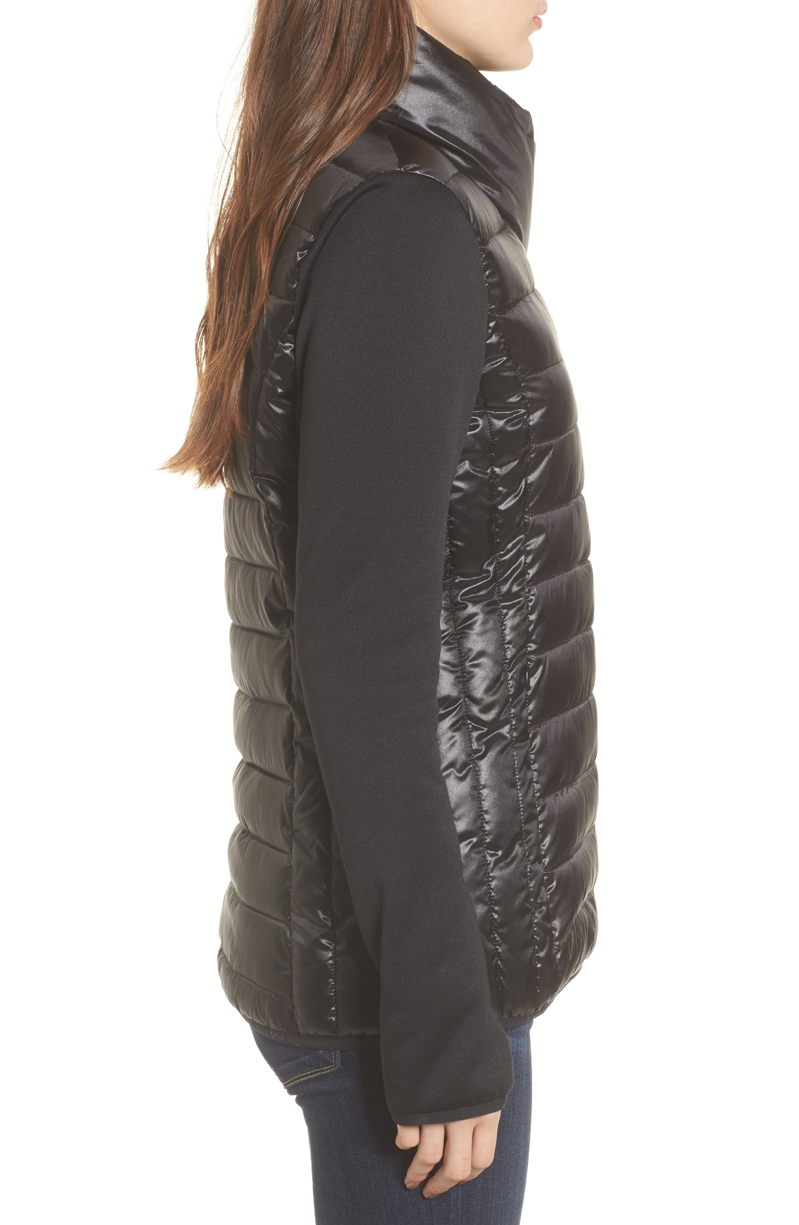 Knit Sleeve Packable Puffer Jacket,                             Alternate thumbnail 3, color,                             Black