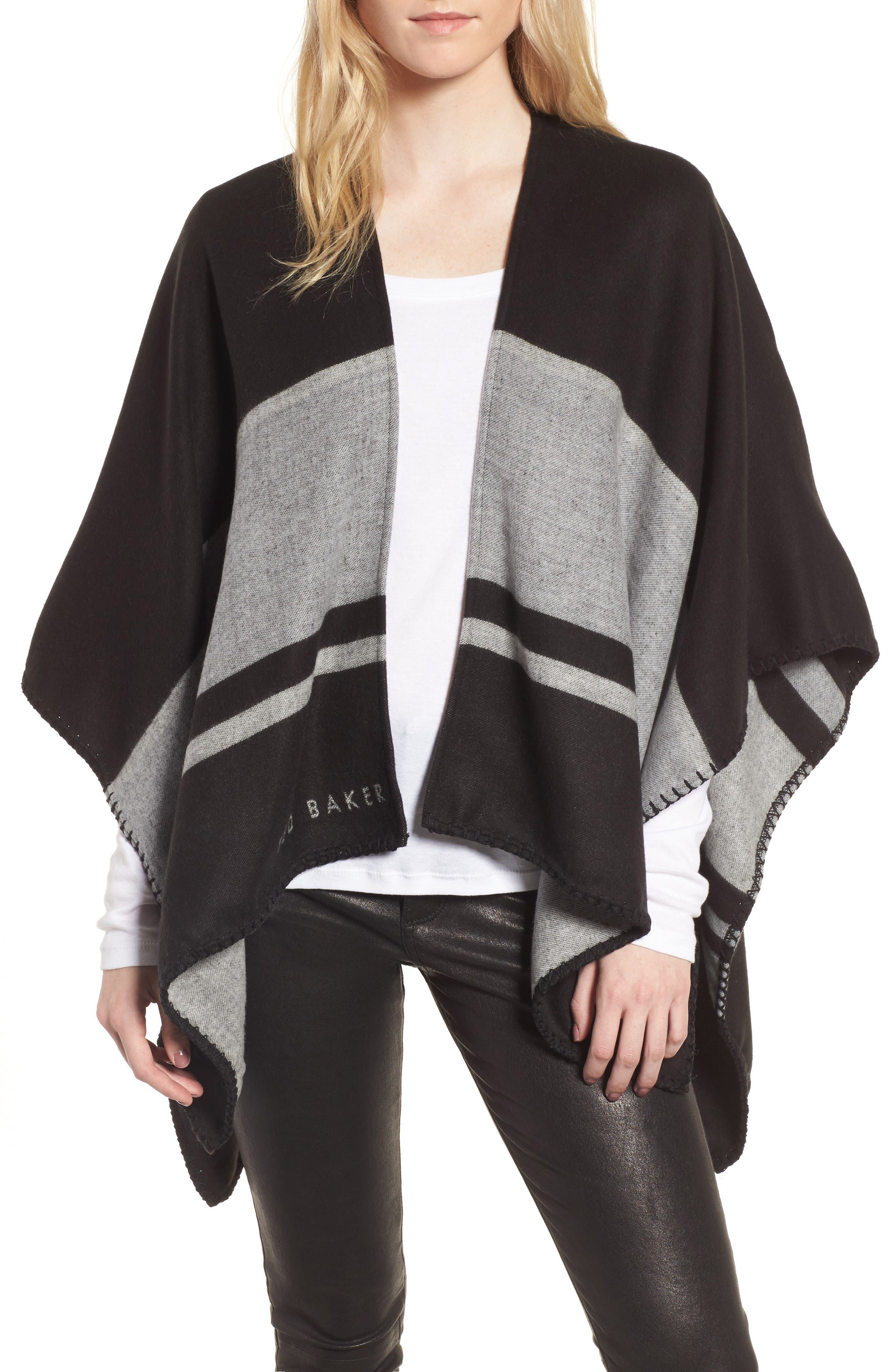 Stairway Stripe Blanket Cape,                             Main thumbnail 1, color,                             00-Black