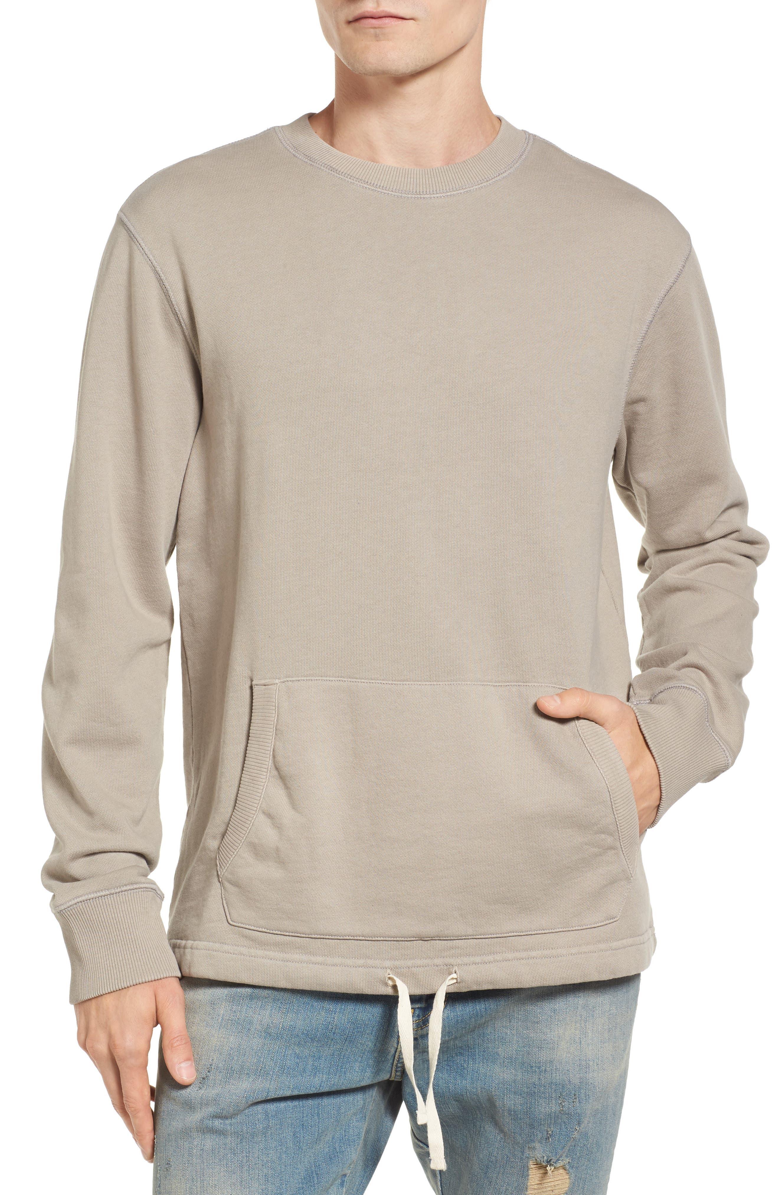 Drawcord Hem Sweatshirt,                             Main thumbnail 1, color,                             Tan Aluminum
