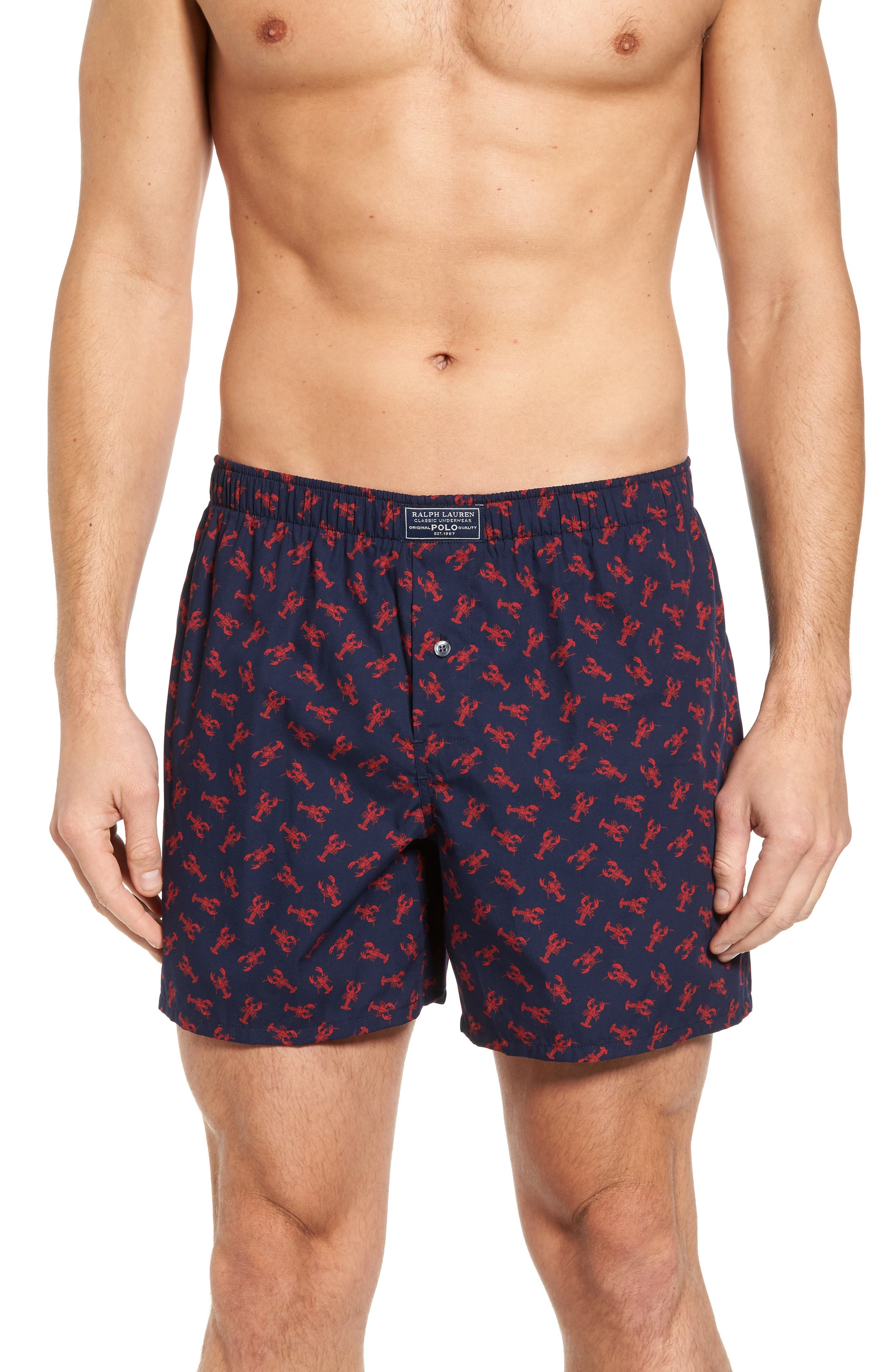 Classic Cotton Boxers,                         Main,                         color, Cruise Navy Lobster