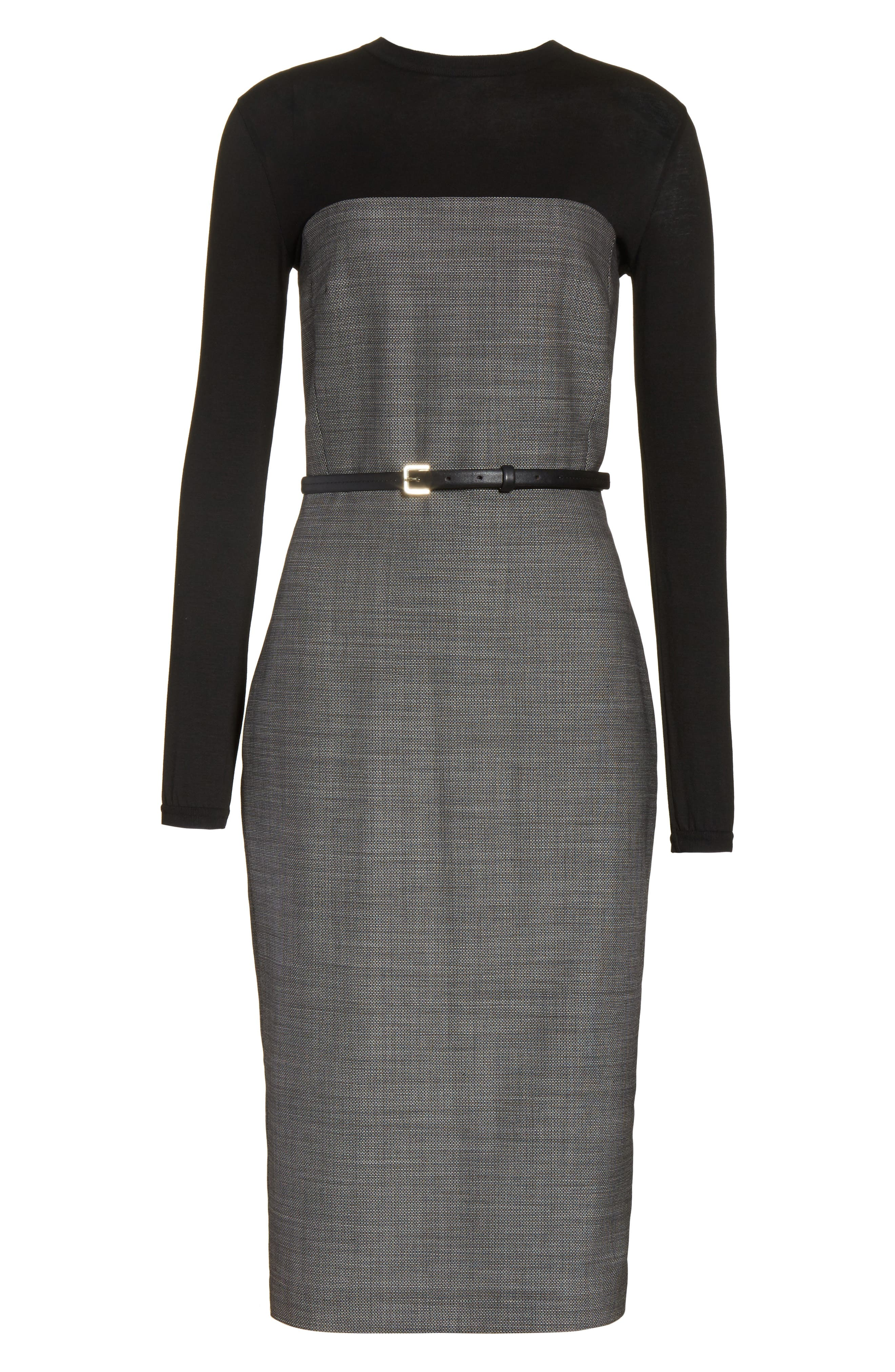 Canapa Stretch Wool Layered Sheath Dress,                             Alternate thumbnail 7, color,                             Black