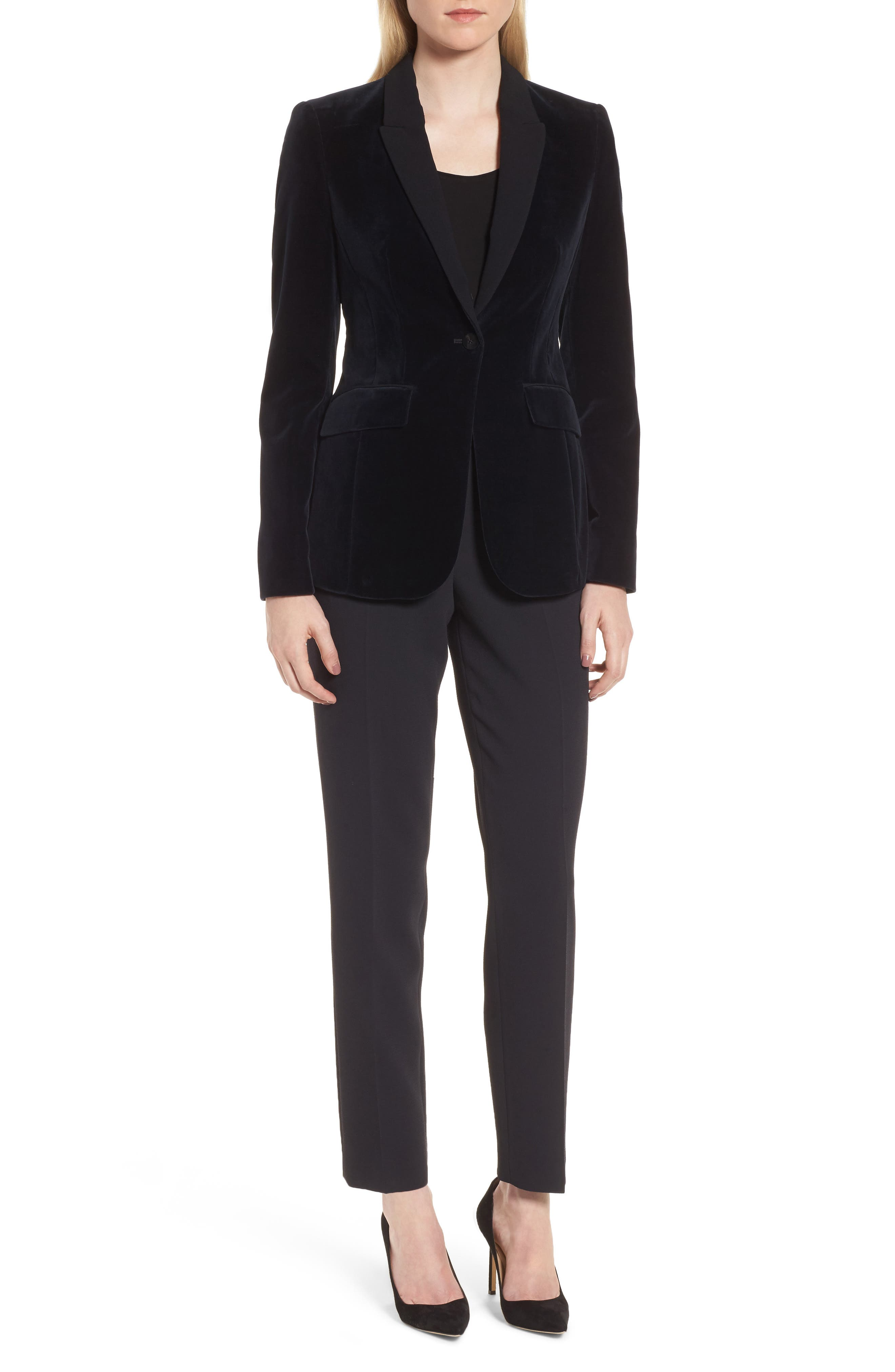 Jeronala Velvet Tuxedo Jacket,                             Alternate thumbnail 6, color,                             Navy