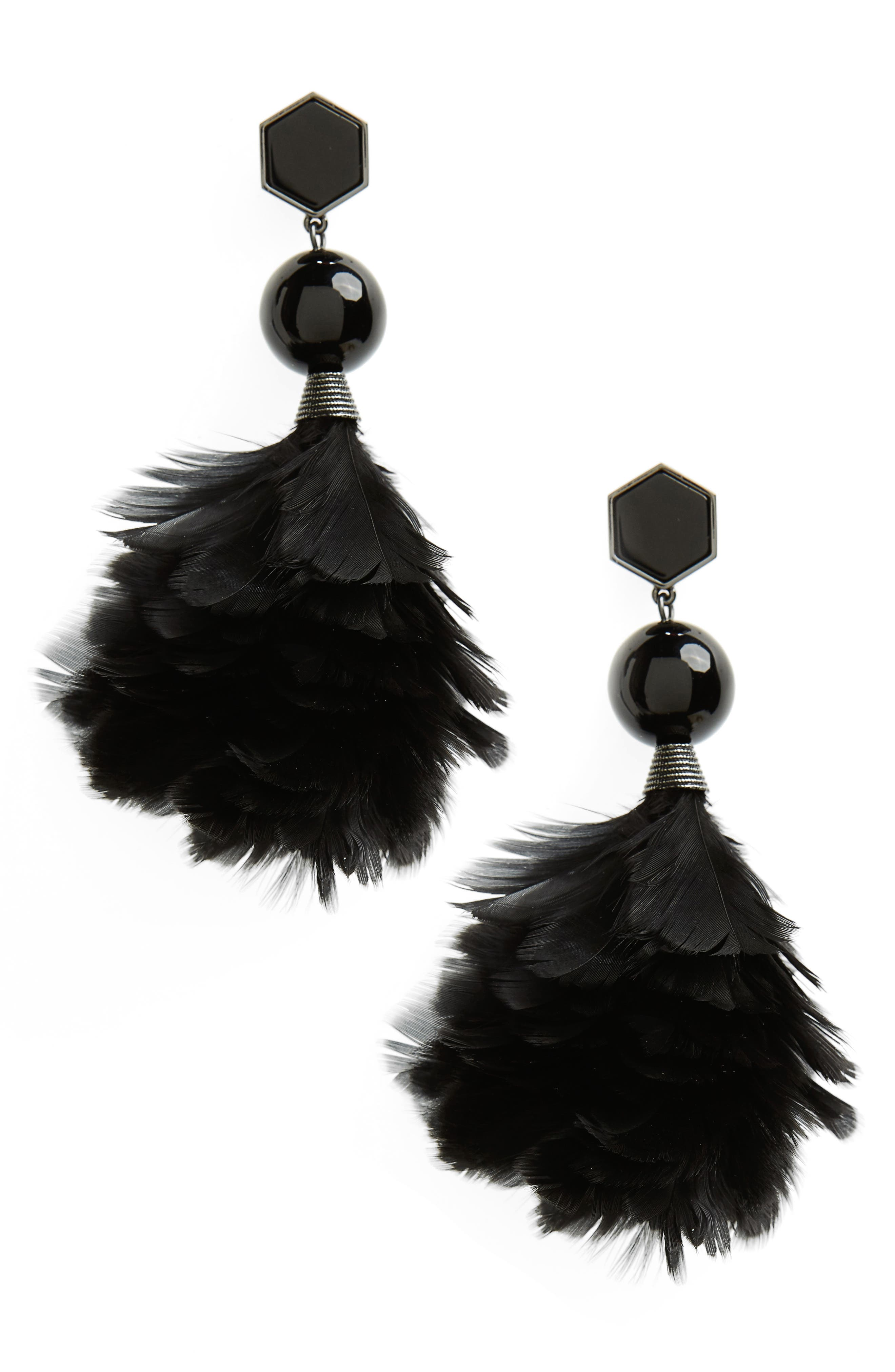 Alternate Image 1 Selected - Tory Burch Feather Drop Earrings