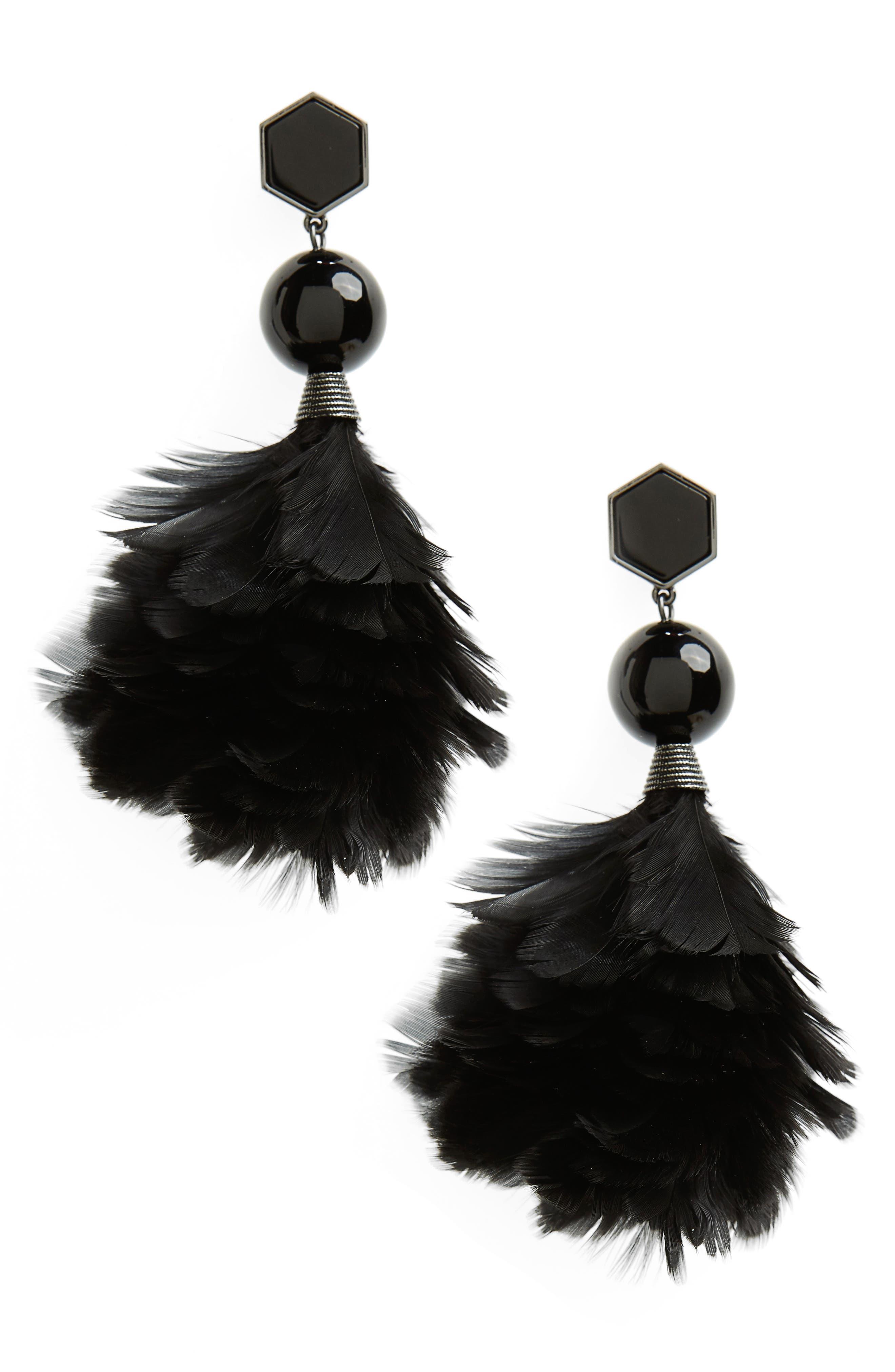 Main Image - Tory Burch Feather Drop Earrings