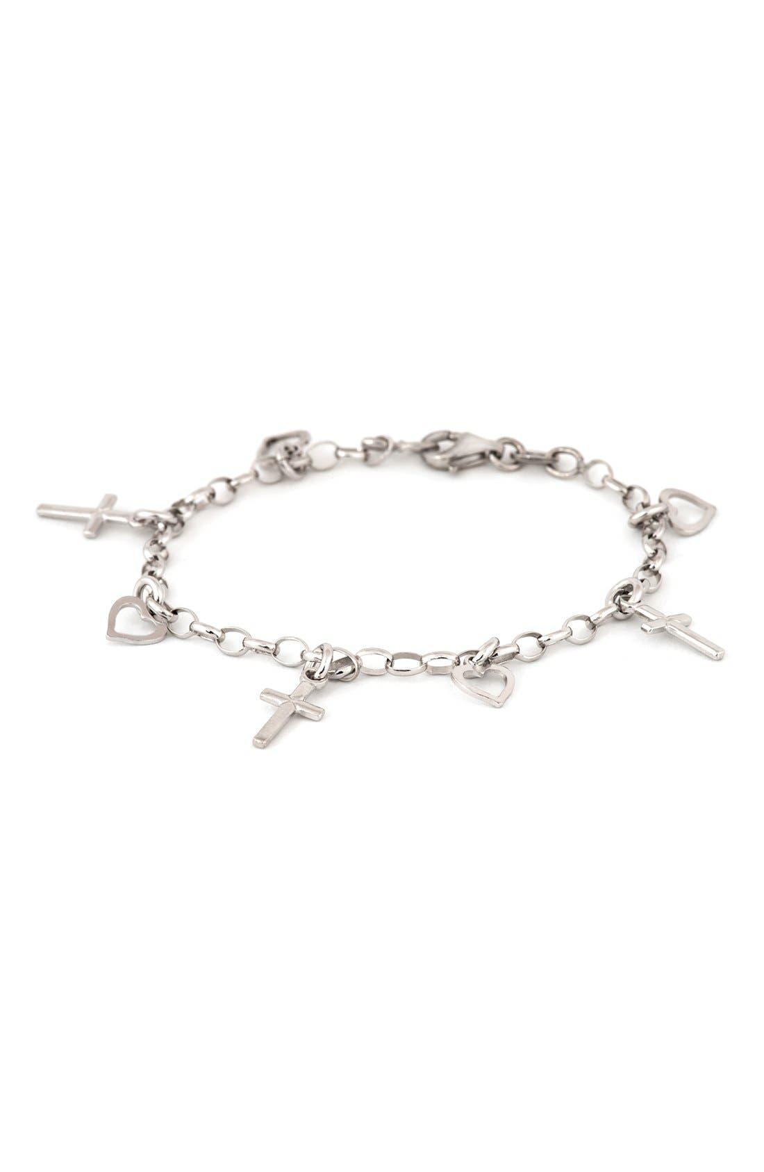 Cross & Heart Sterling Silver Charm Bracelet,                         Main,                         color, None